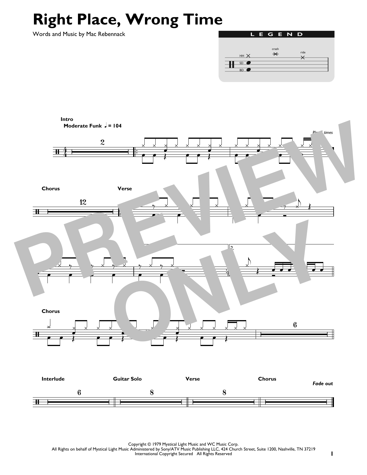 Right Place, Wrong Time (Drum Chart)