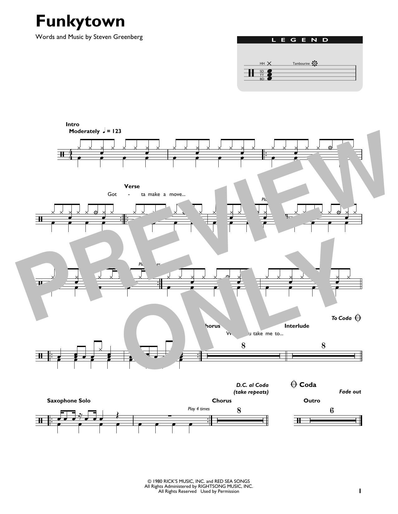 Funkytown (Drum Chart)