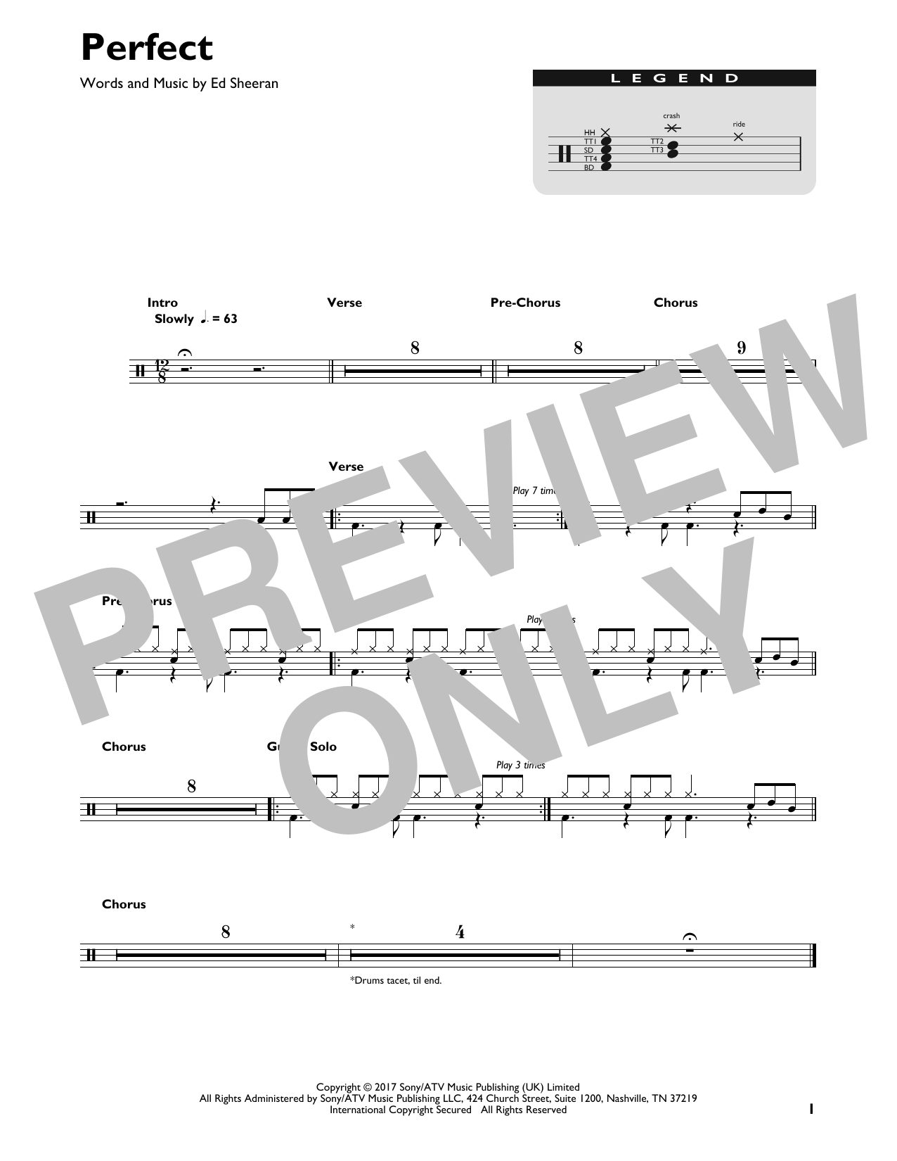 Perfect Sheet Music   Ed Sheeran   Drums Transcription