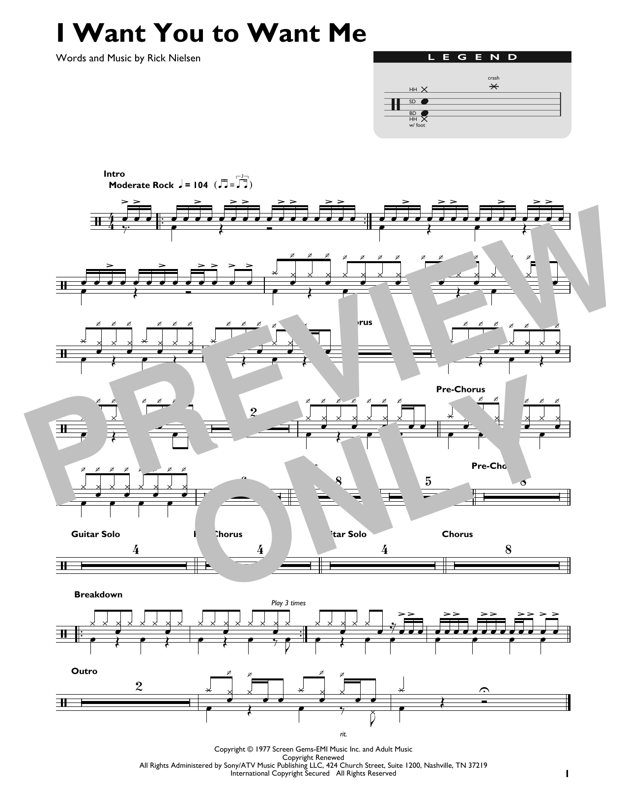 I Want You To Want Me Sheet Music