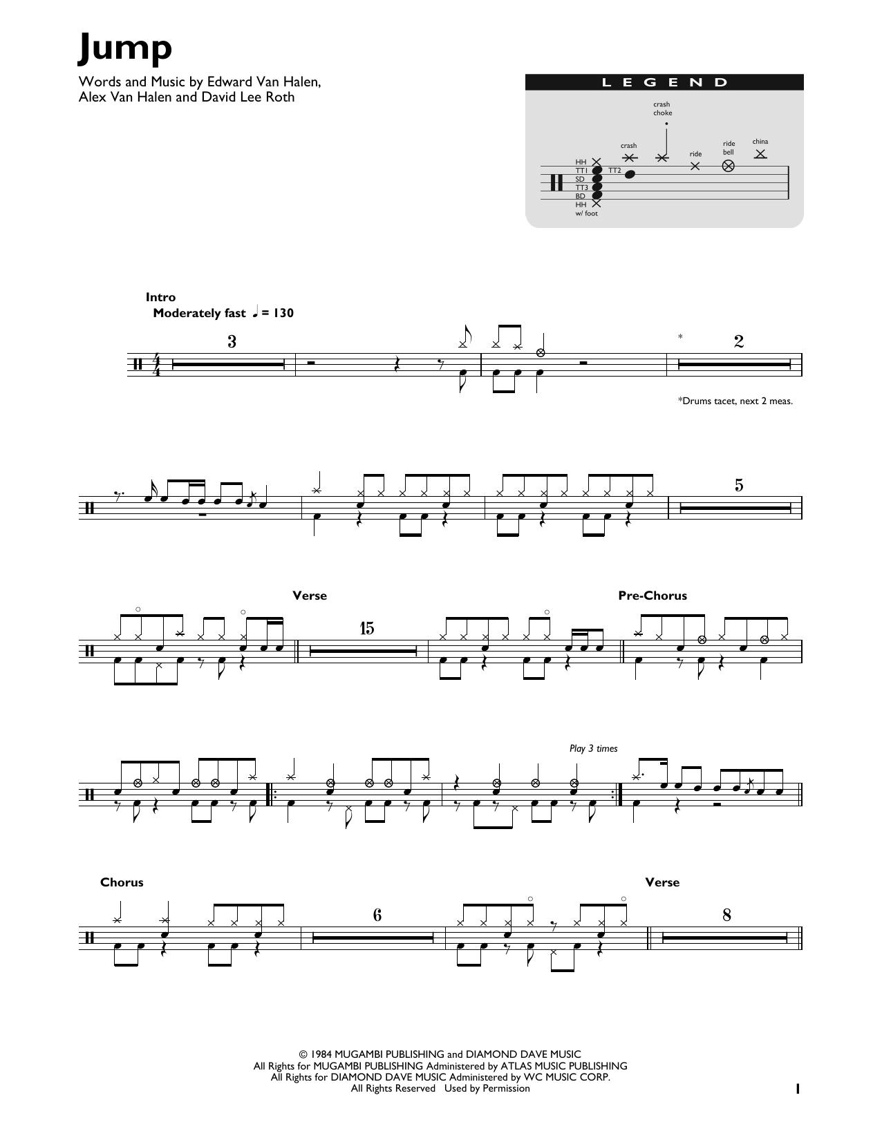 Jump Sheet Music Van Halen Drums Transcription