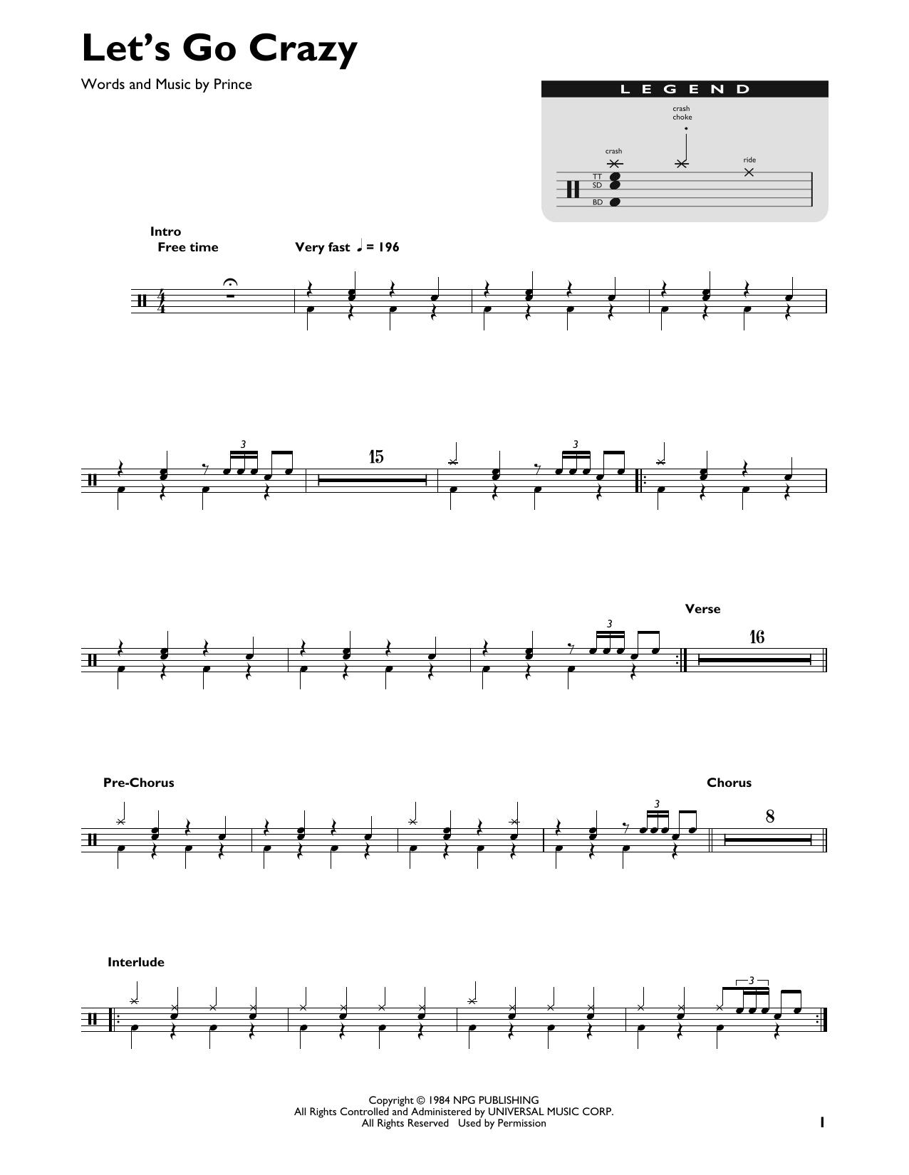 Let's Go Crazy (Drum Chart)
