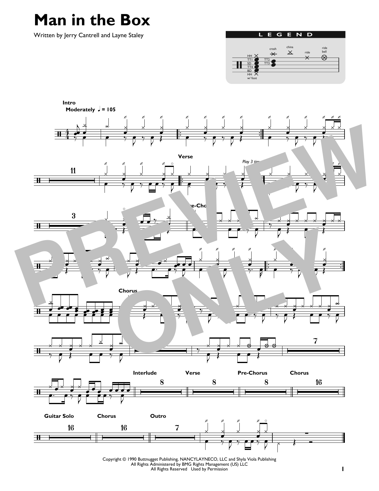 Man In The Box (Drum Chart)