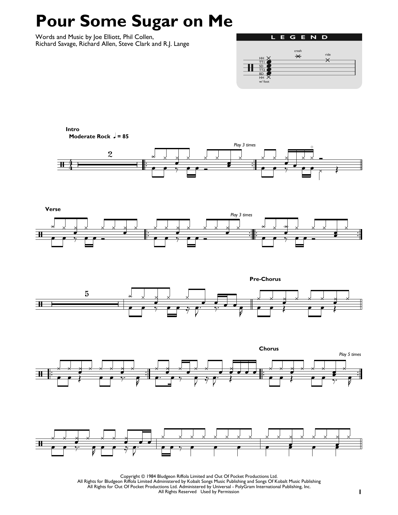 Pour Some Sugar On Me (Drum Chart)