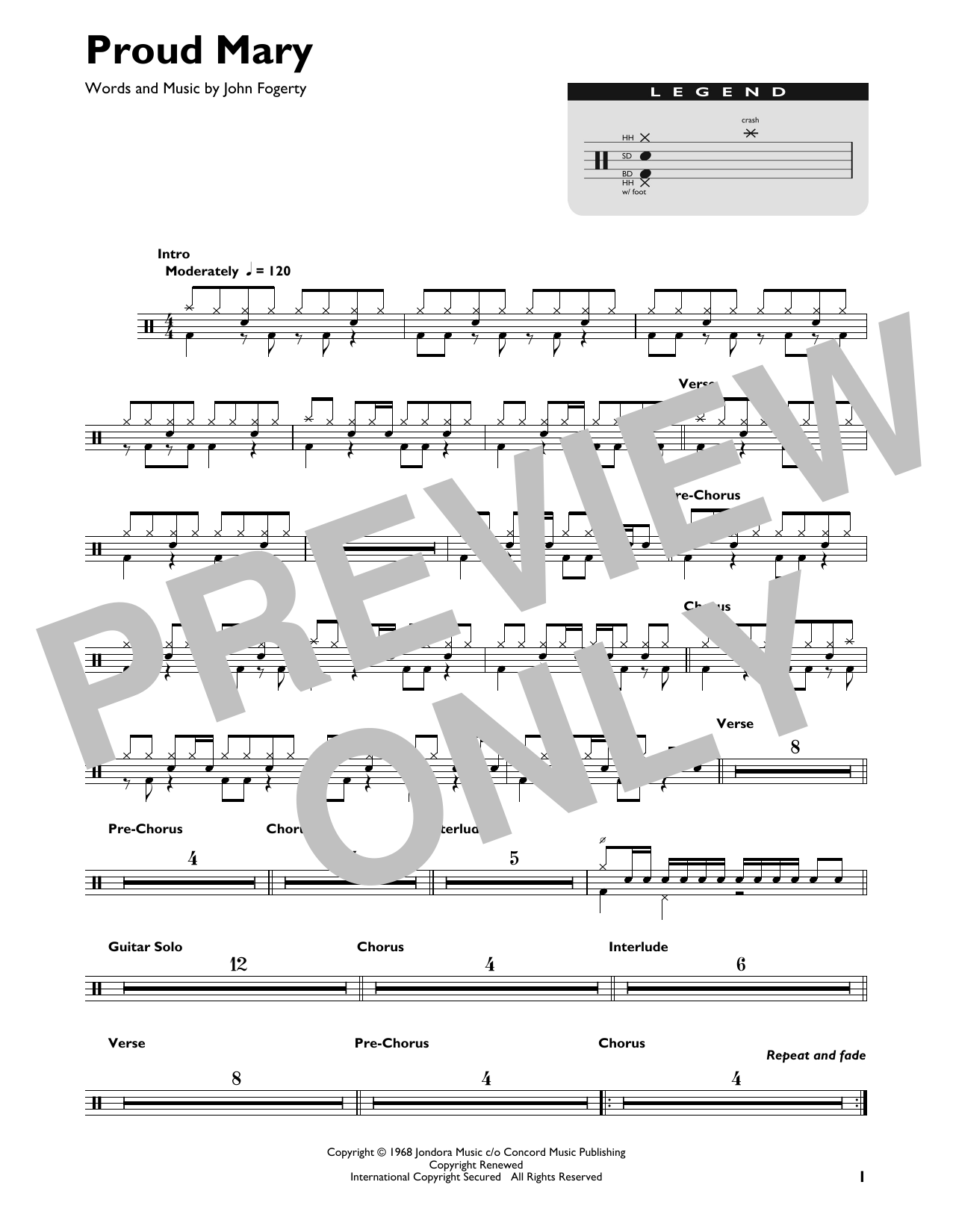 Proud Mary (Drum Chart)