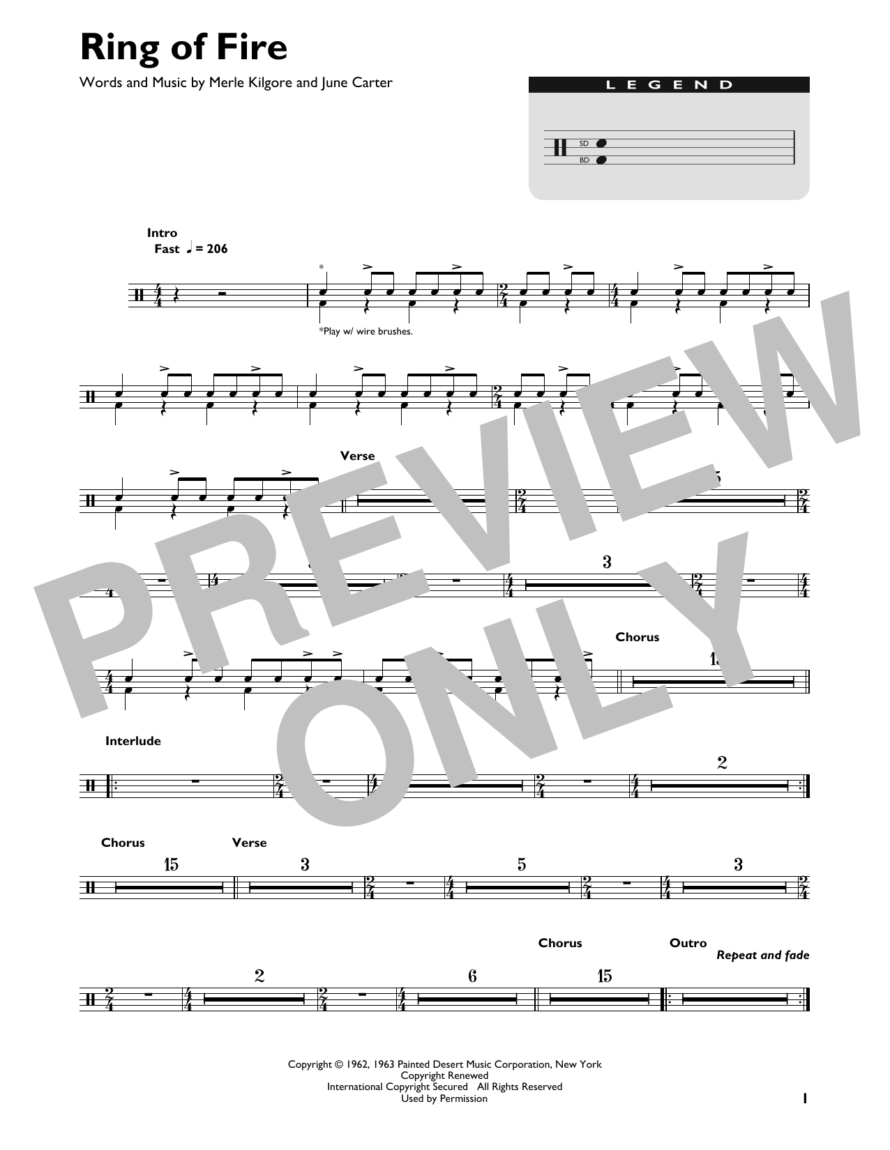 Ring Of Fire (Drums Transcription) - Print Sheet Music Now