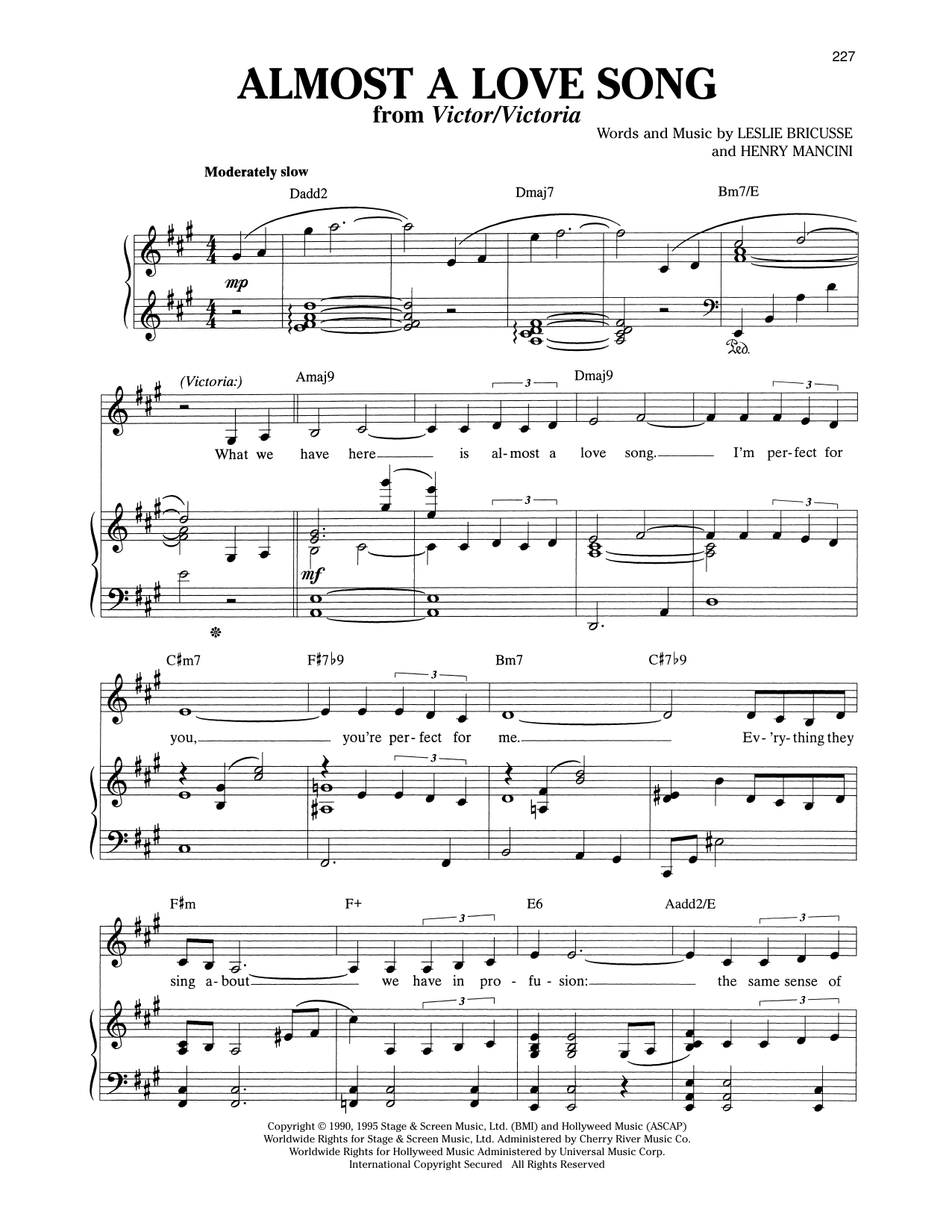 Almost A Love Song (from Victor/Victoria) Sheet Music