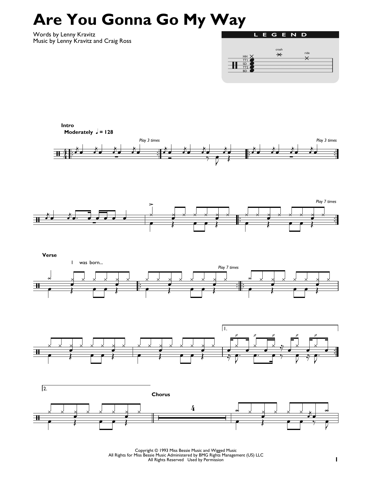 Are You Gonna Go My Way (Drum Chart)