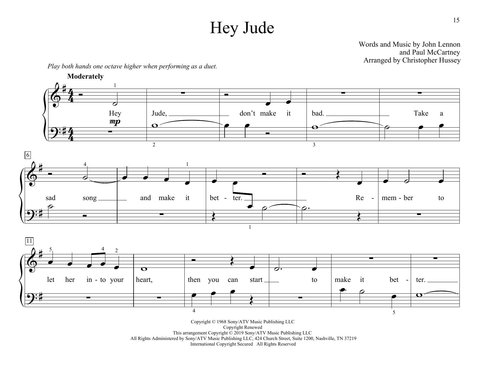 Hey Jude (arr. Christopher Hussey) (Piano Duet)