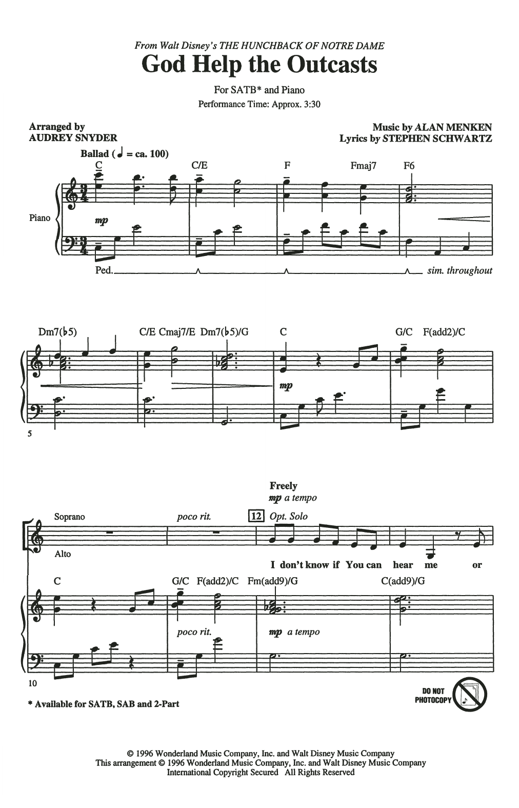 God Help The Outcasts (from The Hunchback Of Notre Dame) (arr. Audrey Snyder) (SATB Choir)