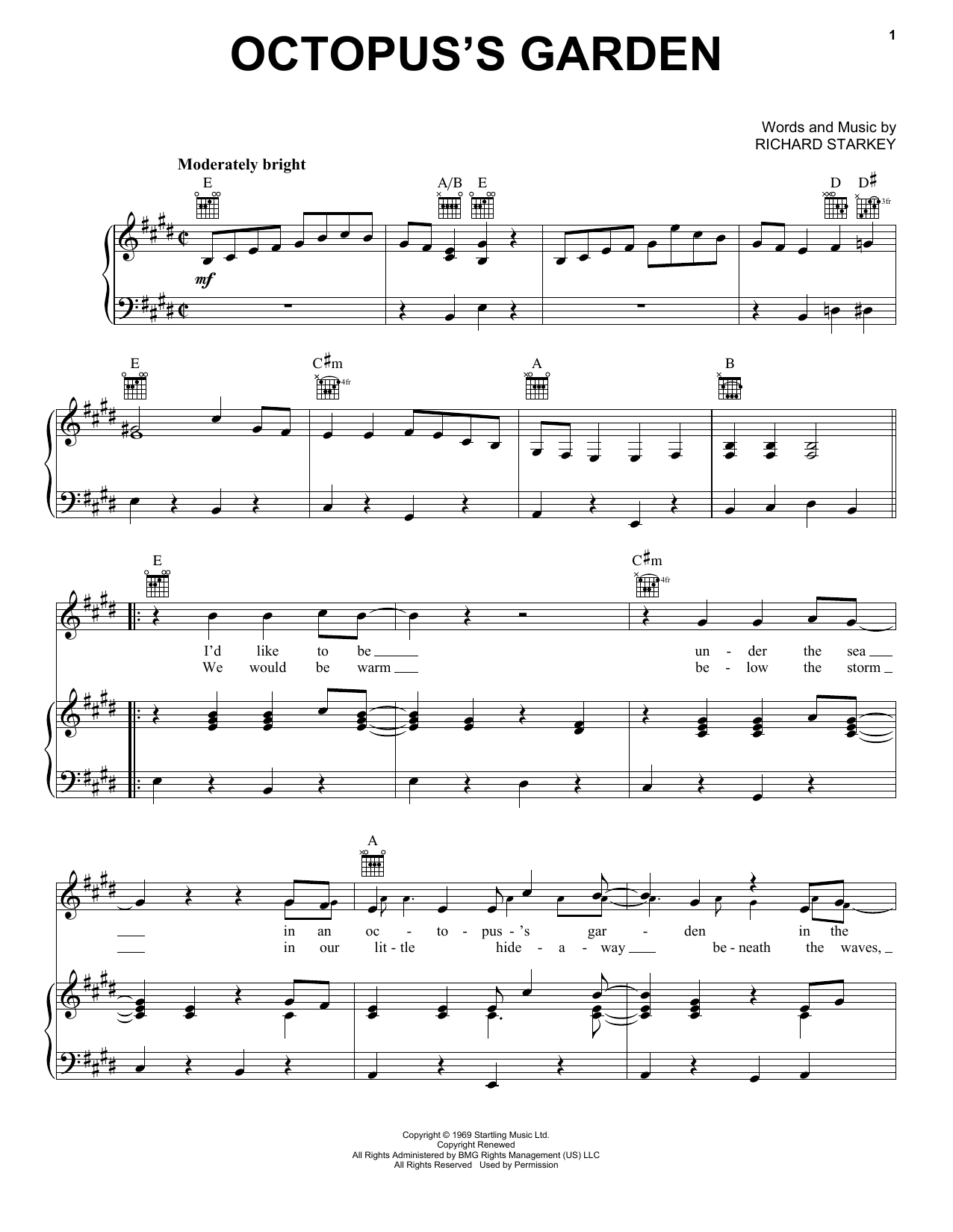 Octopus's Garden (Piano, Vocal & Guitar (Right-Hand Melody))