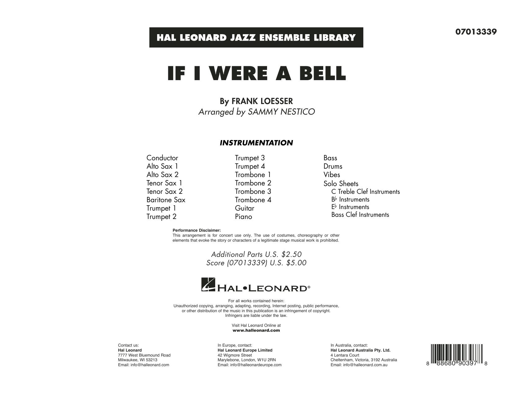 If I Were a Bell (arr. Sammy Nestico) - Conductor Score (Full Score) (Jazz Ensemble)