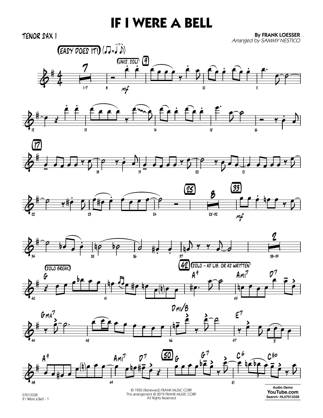 If I Were a Bell (arr. Sammy Nestico) - Tenor Sax 1 (Jazz Ensemble)