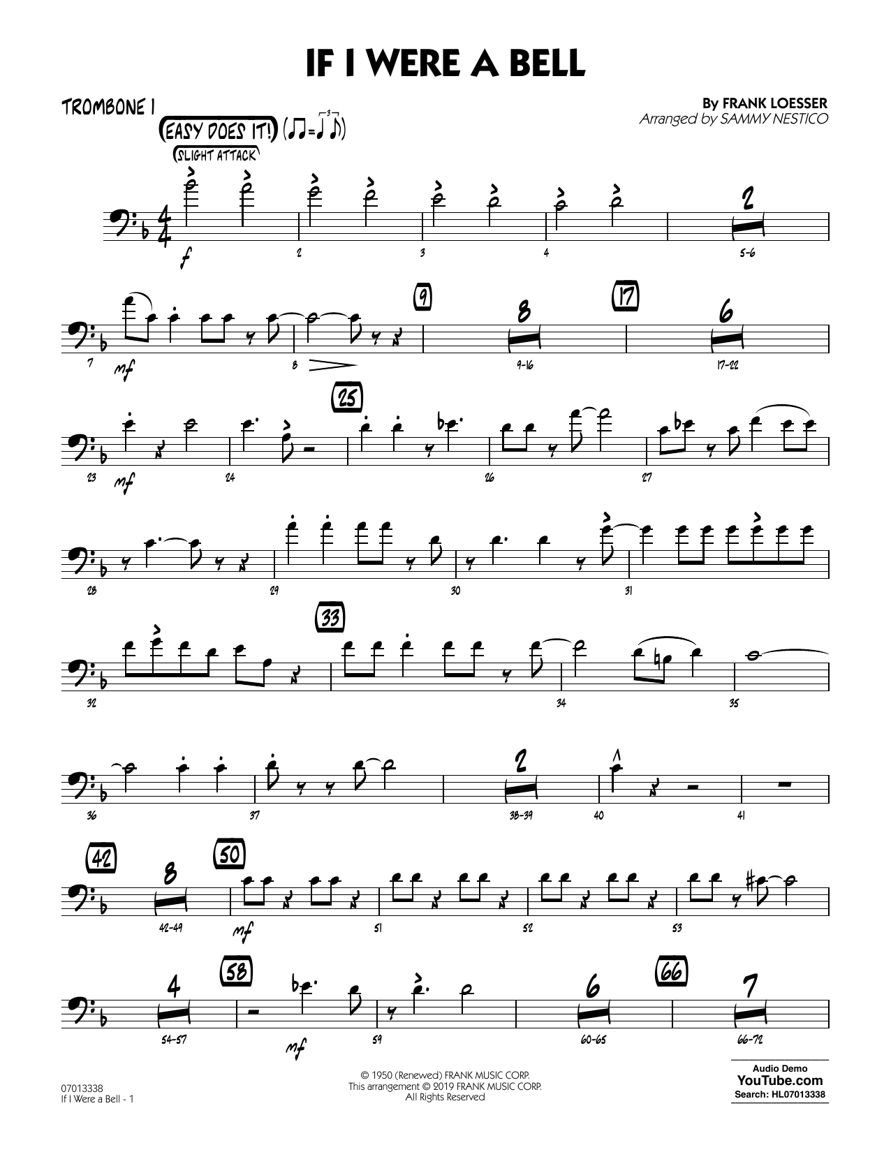 If I Were a Bell (arr. Sammy Nestico) - Trombone 1 (Jazz Ensemble)