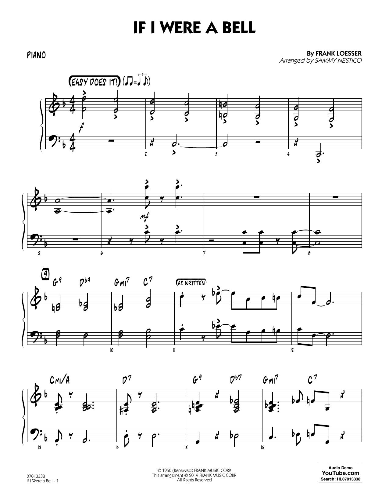 If I Were a Bell (arr. Sammy Nestico) - Piano (Jazz Ensemble)