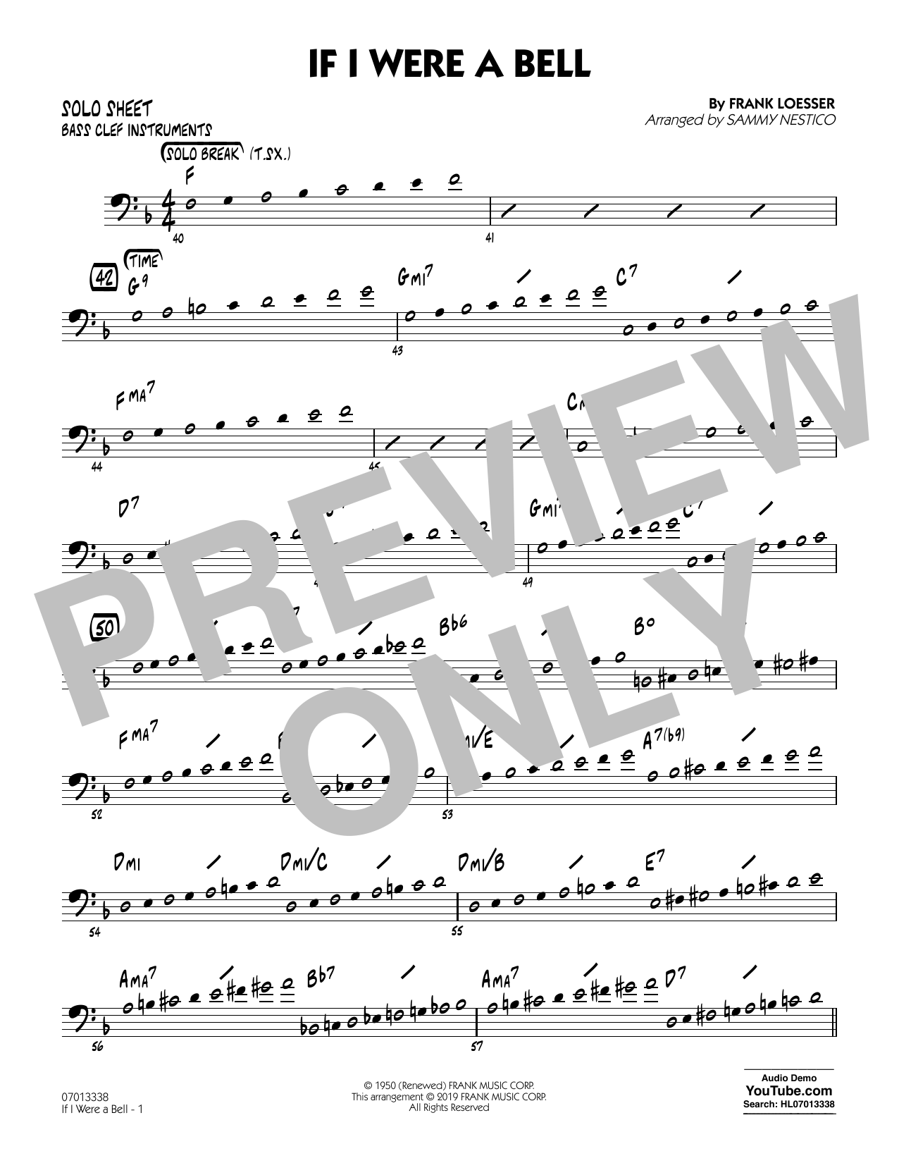 If I Were a Bell (arr. Sammy Nestico) - Bass Clef Solo Sheet (Jazz Ensemble)
