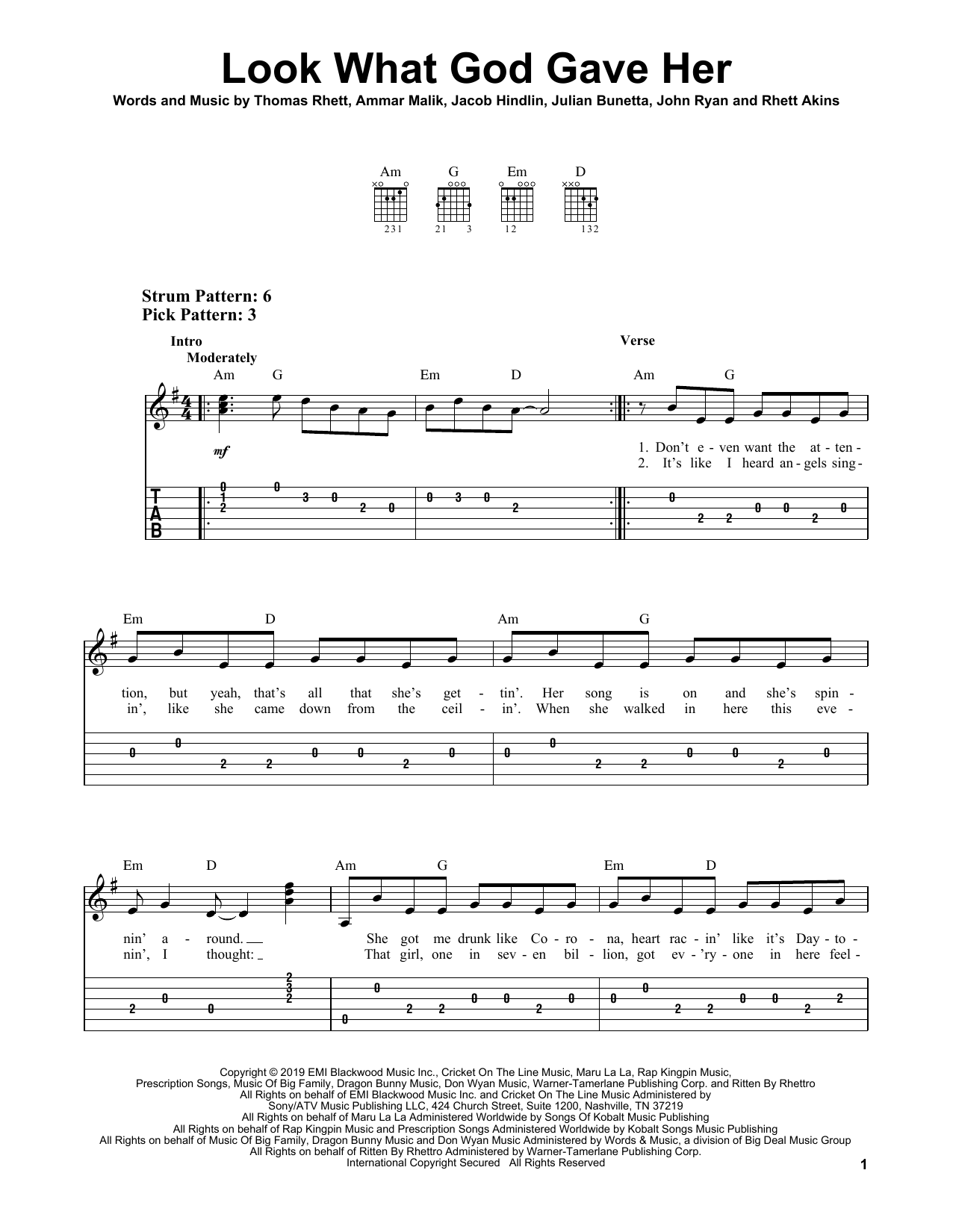Look What God Gave Her (Easy Guitar Tab)