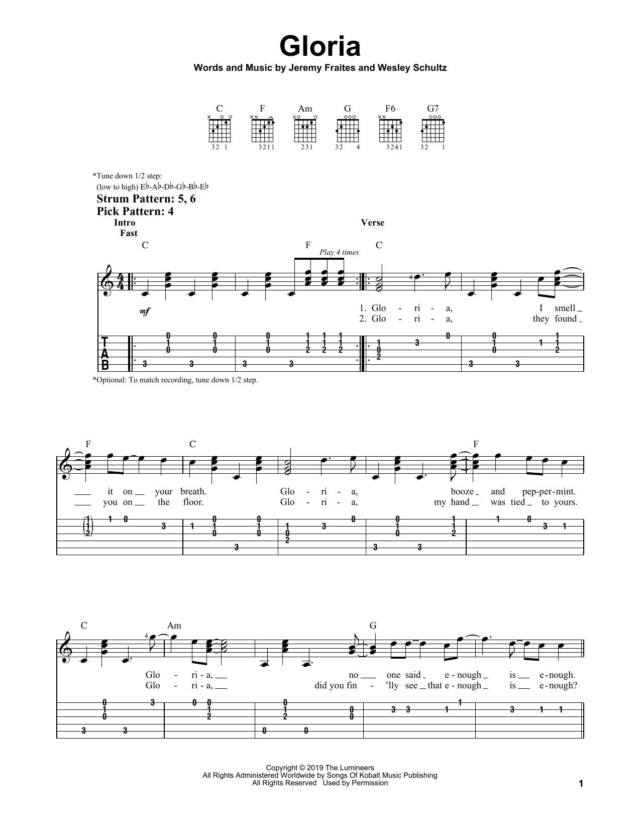 Gloria (Easy Guitar Tab)