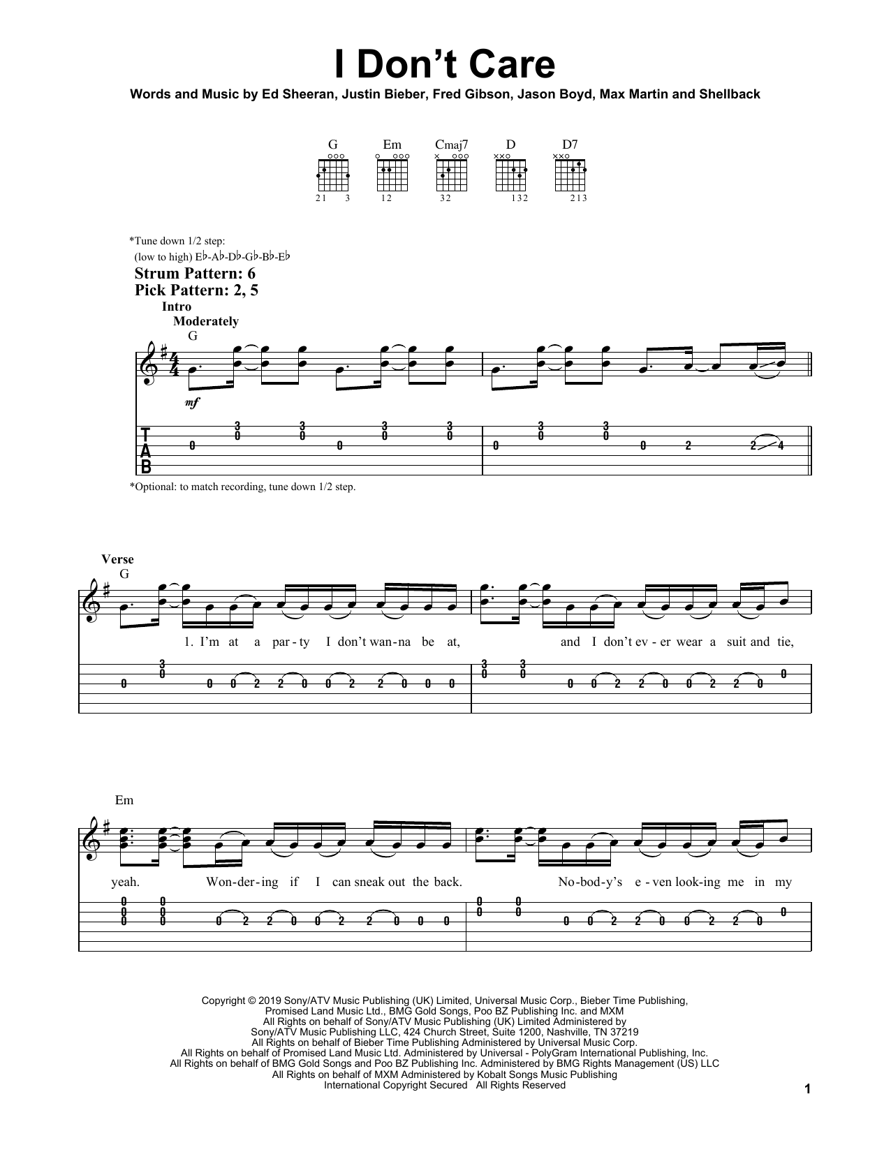 I Don't Care (Easy Guitar Tab)