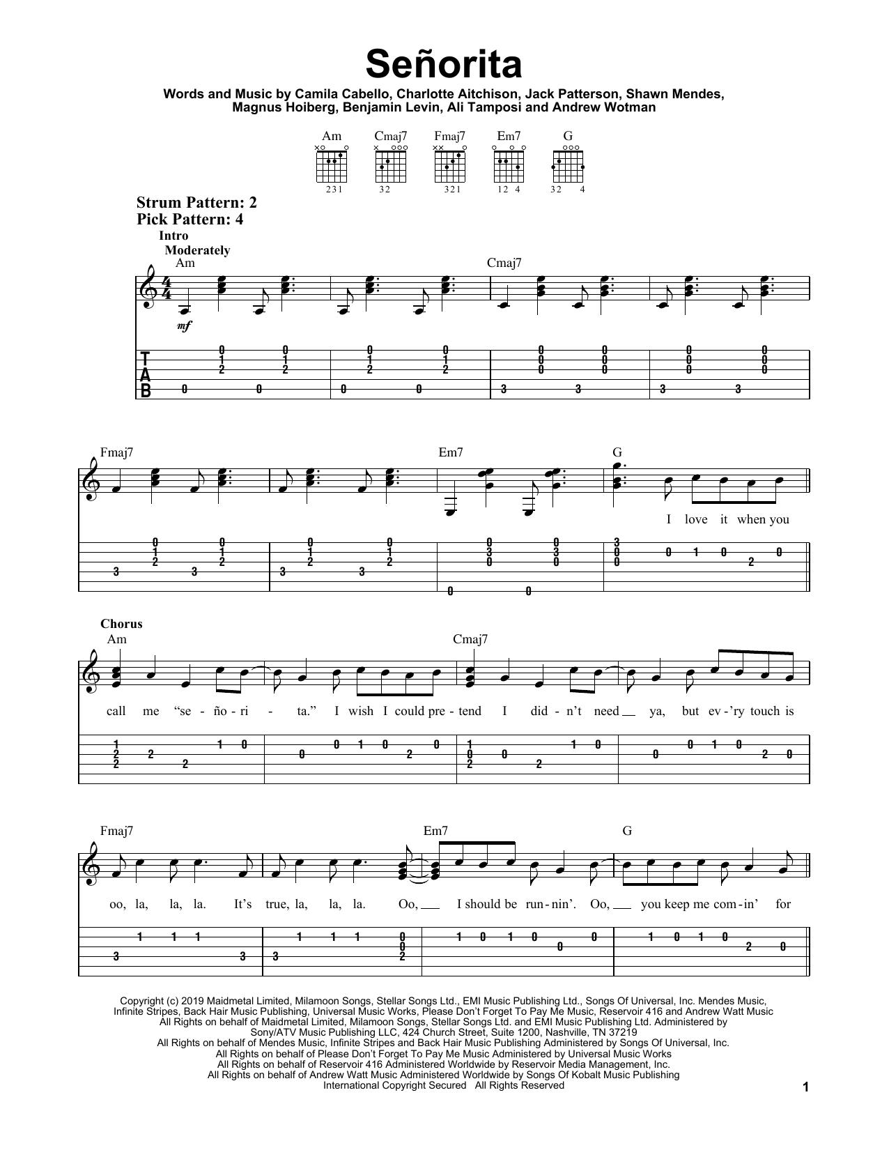 Señorita (Easy Guitar Tab)