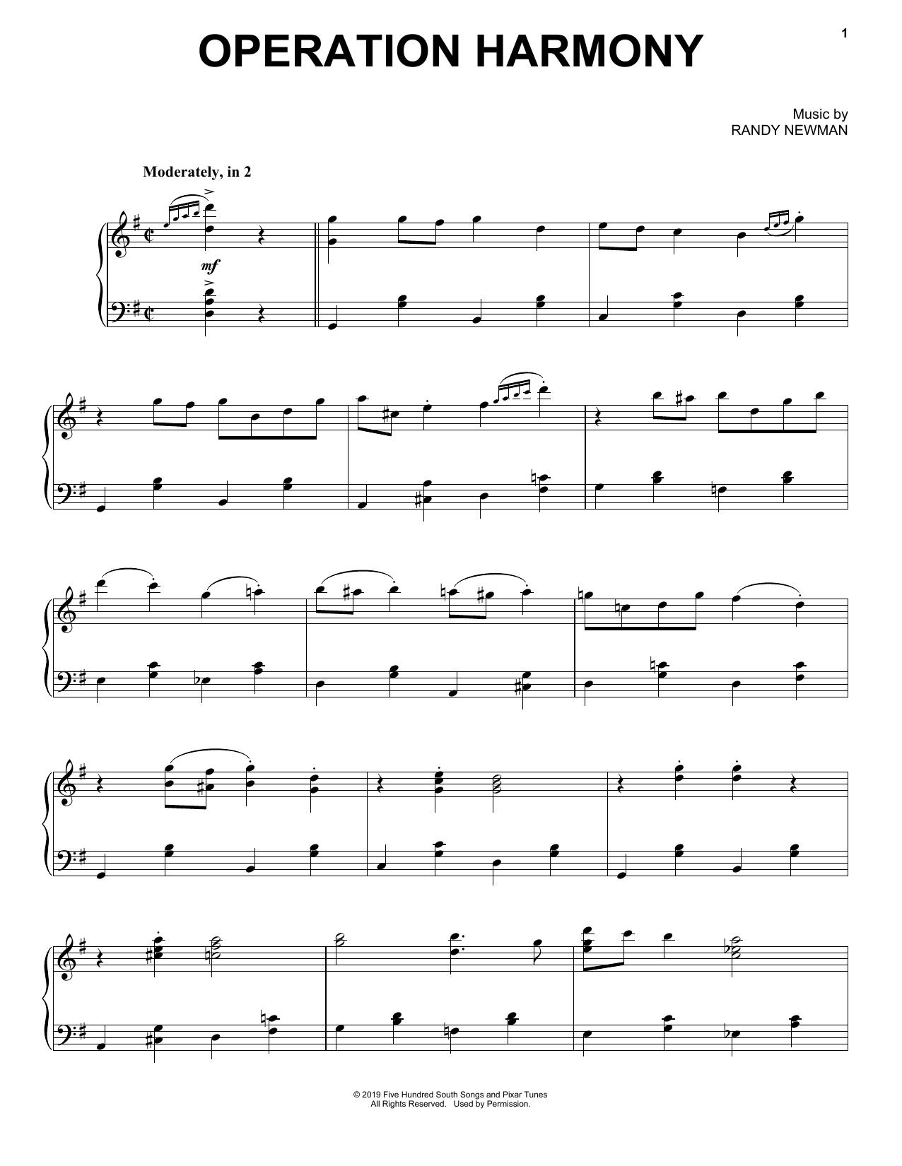Operation Harmony (from Toy Story 4) (Piano Solo)