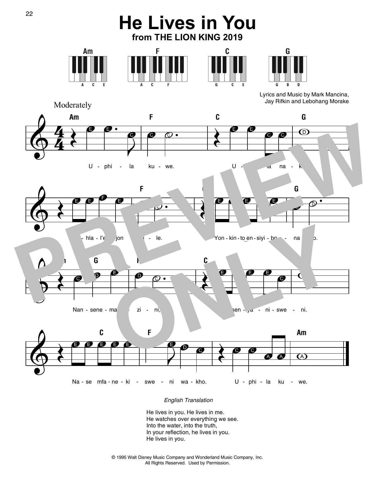 He Lives In You From The Lion King 2019 Sheet Music Lebo M Super Easy Piano
