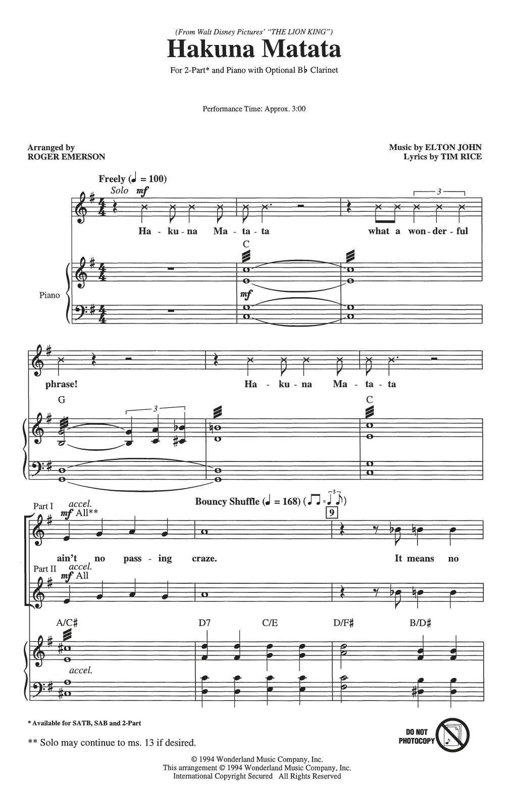 Hakuna Matata (from Disney's The Lion King) (arr. Roger Emerson) Partition Digitale