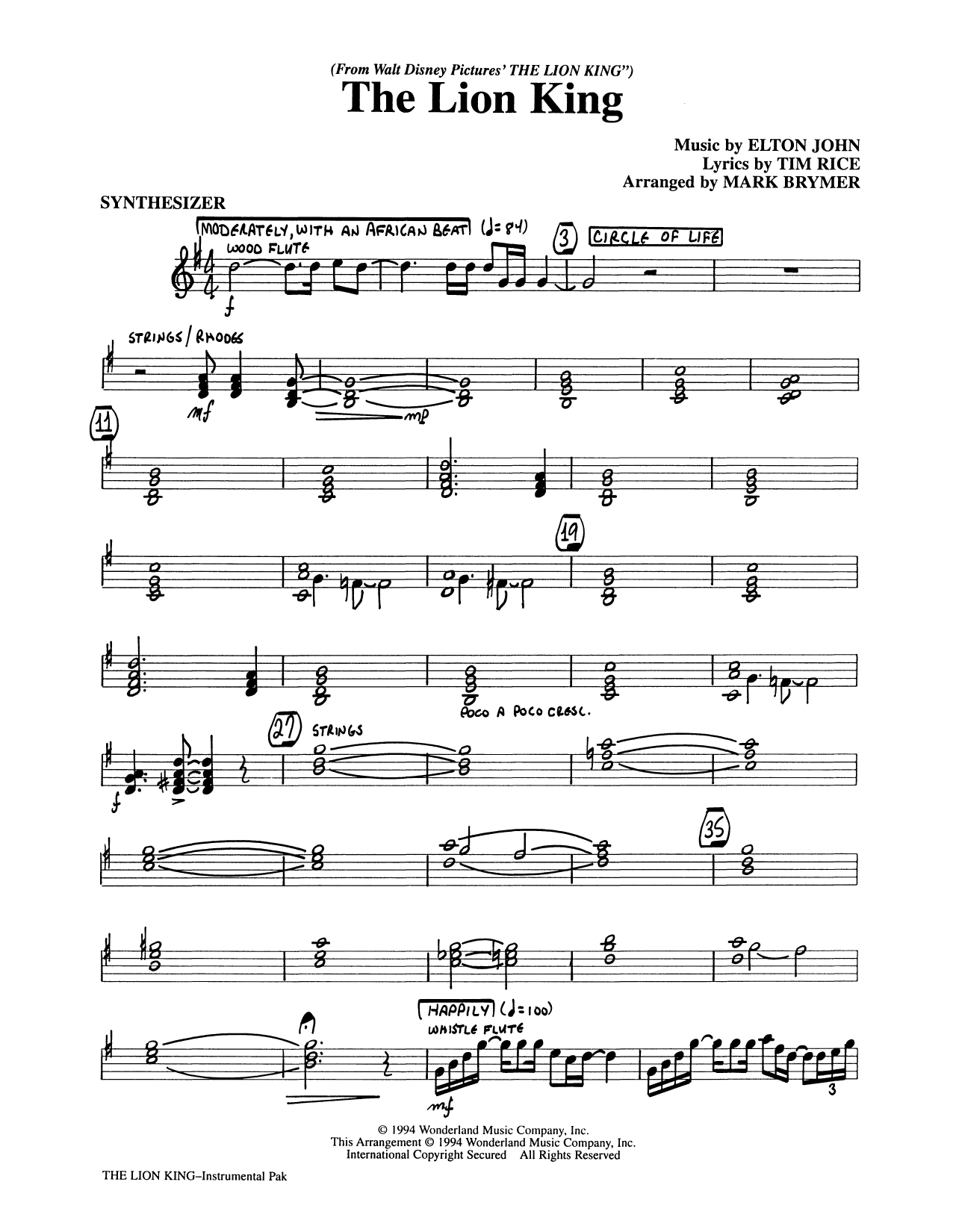 The Lion King (Medley) (arr. Mark Brymer) - Synthesizer (Choir Instrumental Pak)