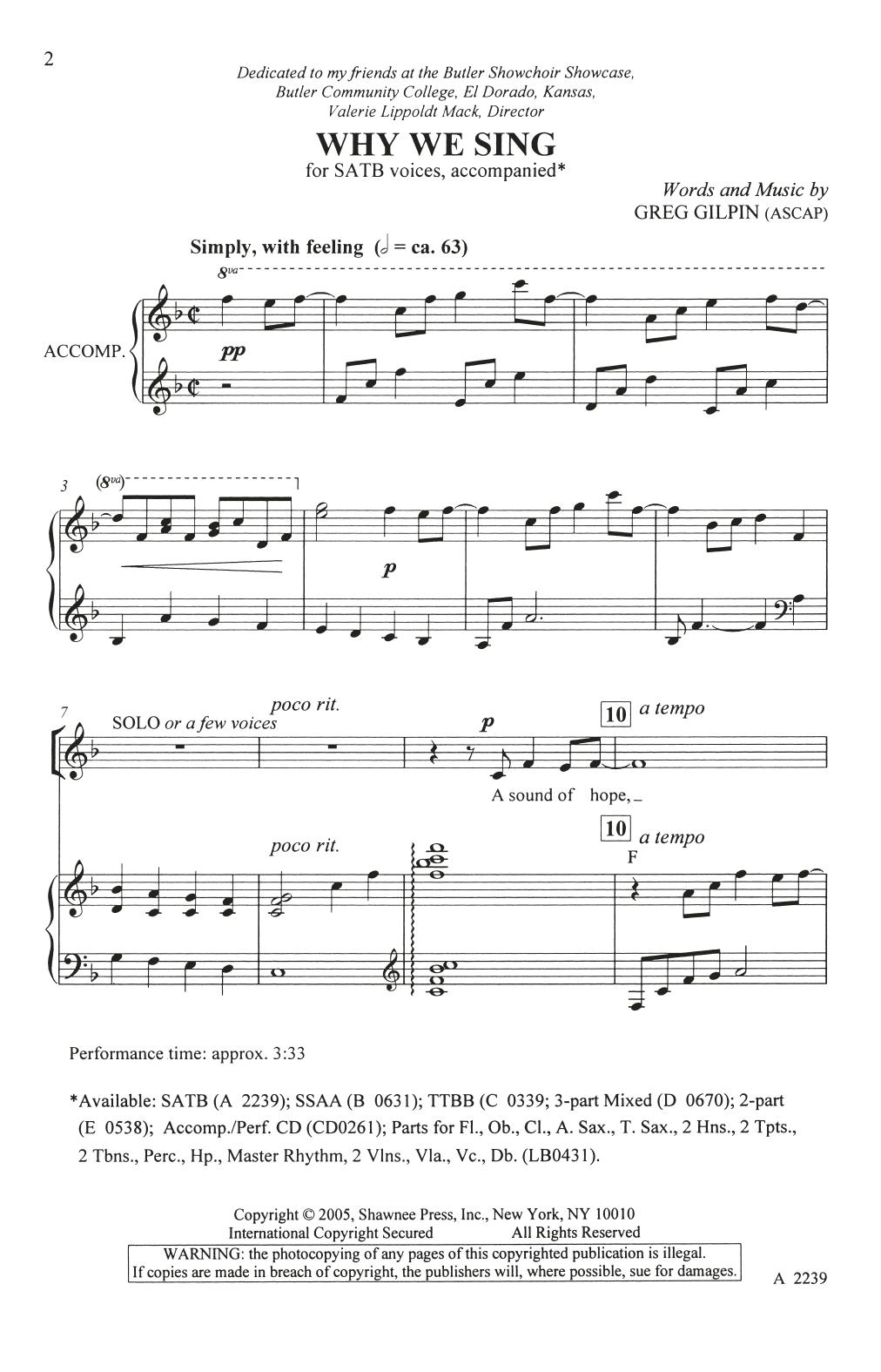 Why We Sing (SATB Choir)
