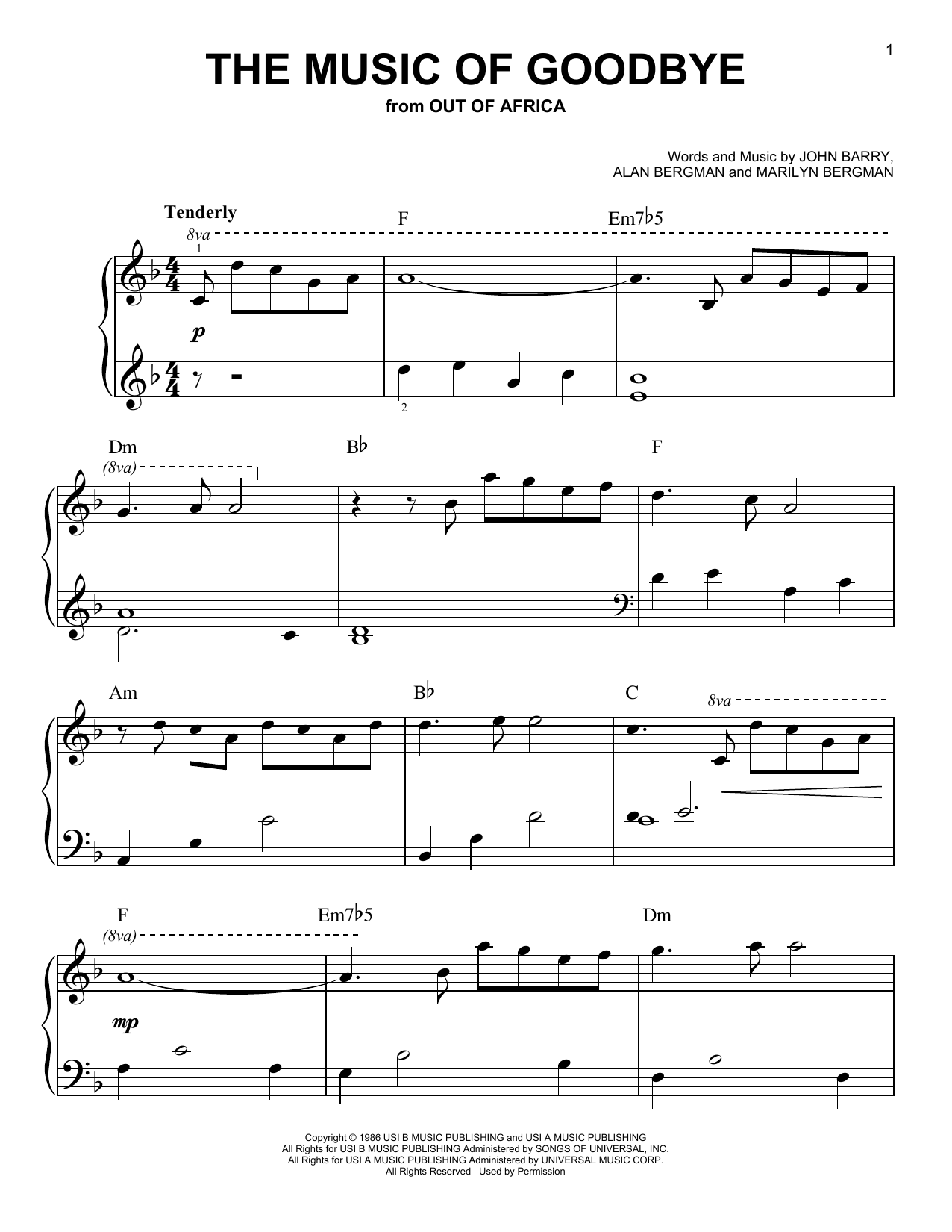 The Music Of Goodbye (from Out of Africa) (Very Easy Piano)