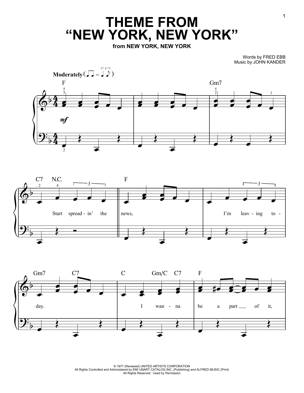 """Theme From """"New York, New York"""" (Very Easy Piano)"""