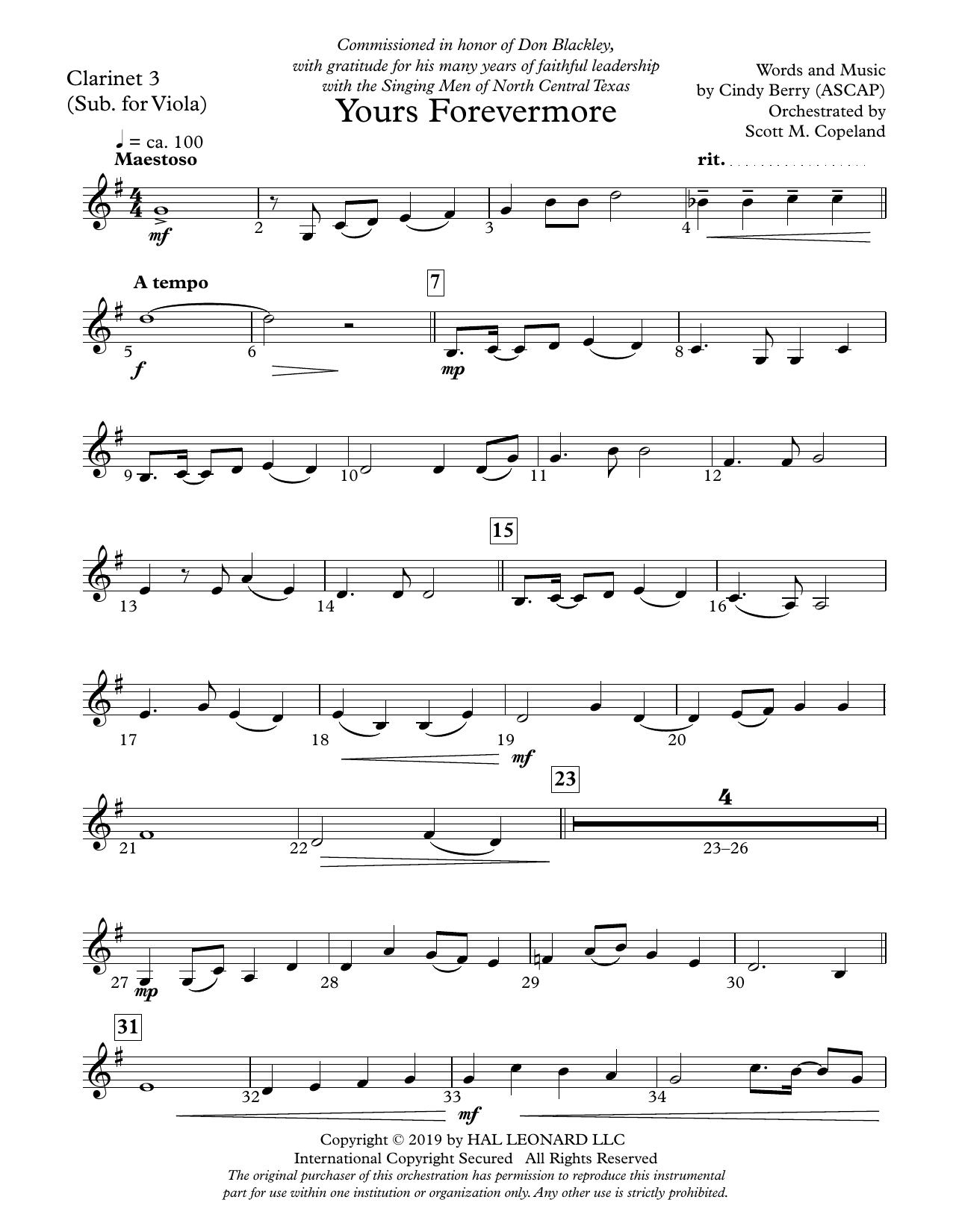 Yours Forevermore - Clarinet 3 (Sub. Viola) (Choir Instrumental Pak)