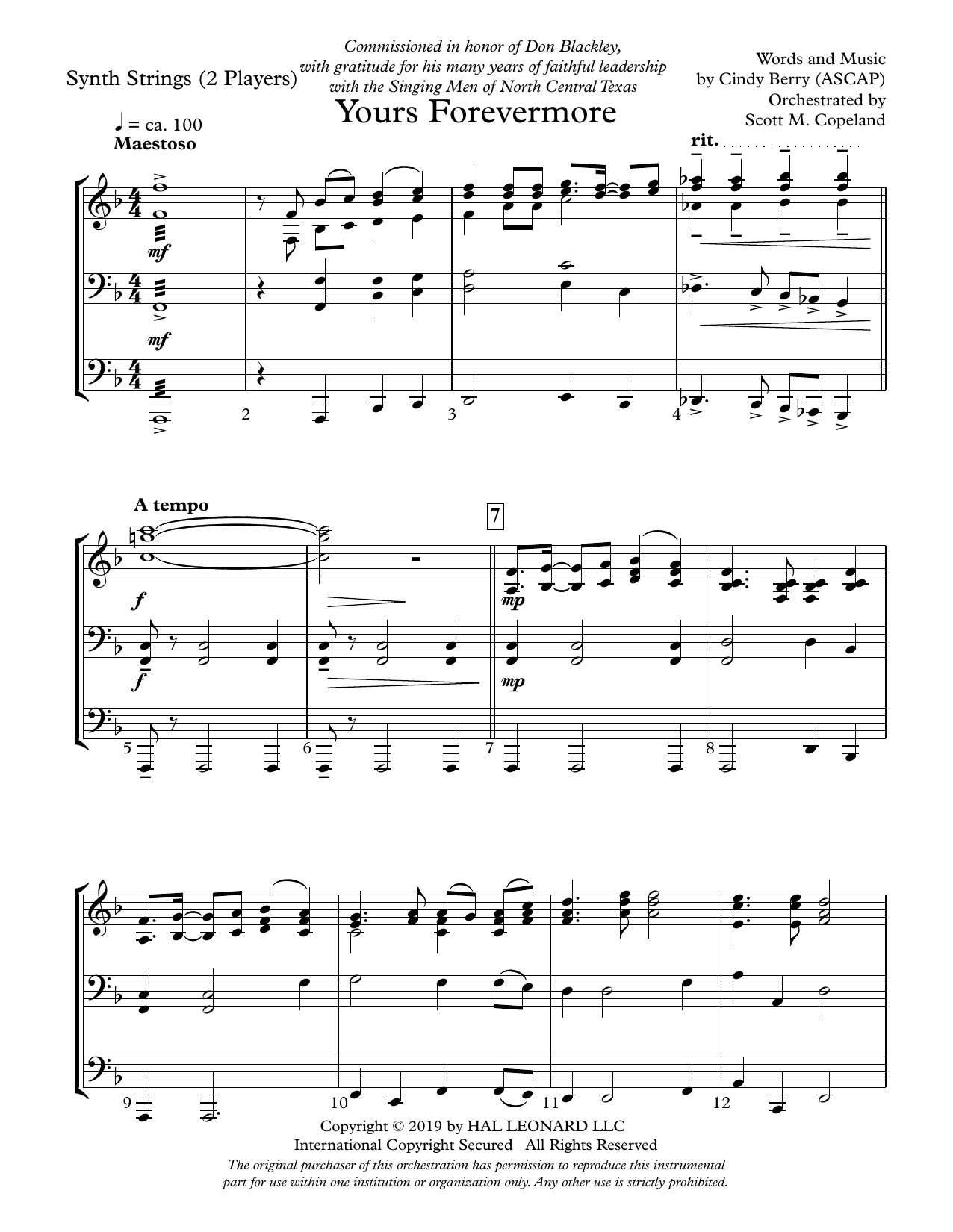 Yours Forevermore - Keyboard String Reduction (Choir Instrumental Pak)