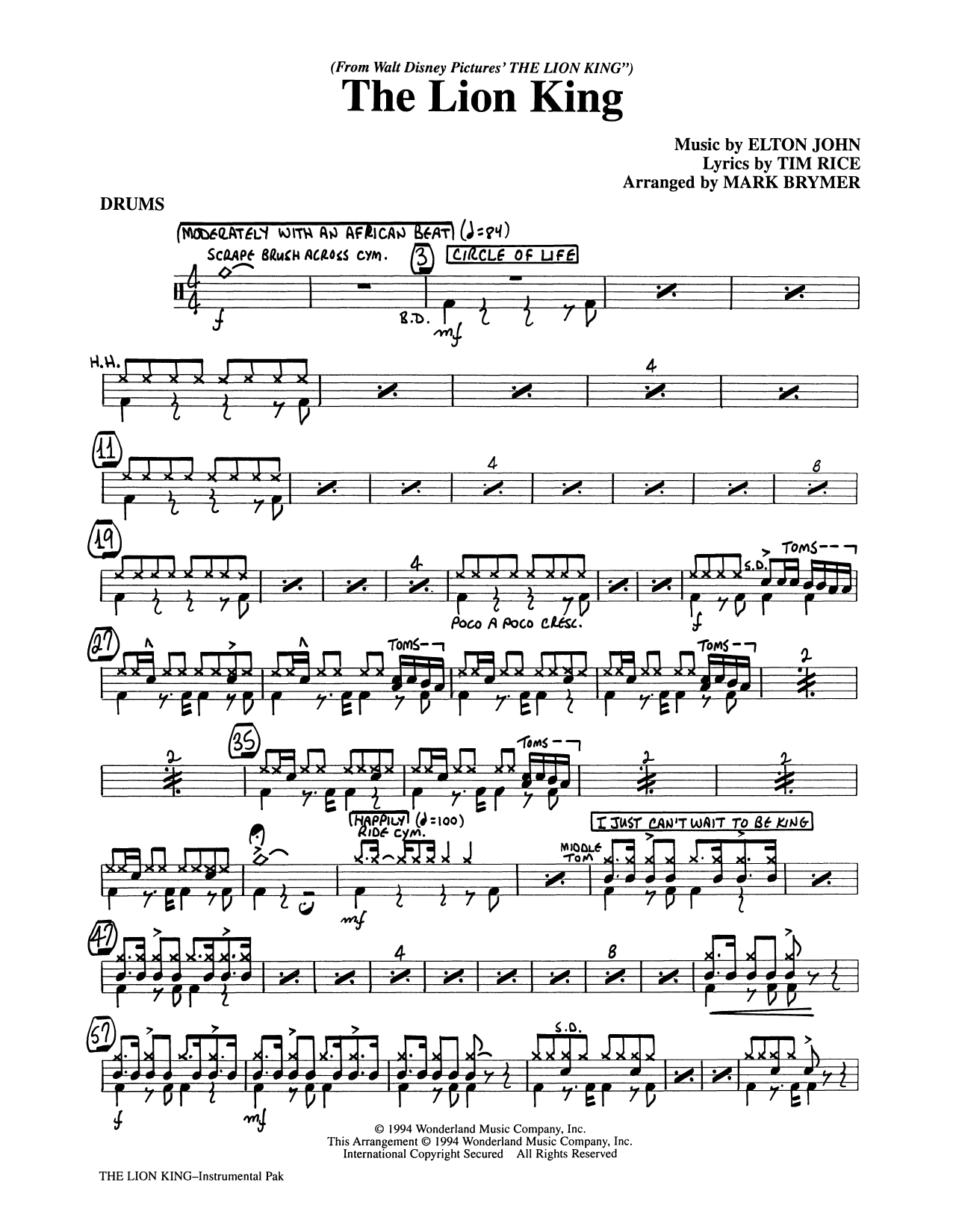 The Lion King (Medley) (arr. Mark Brymer) - Drums (Choir Instrumental Pak)