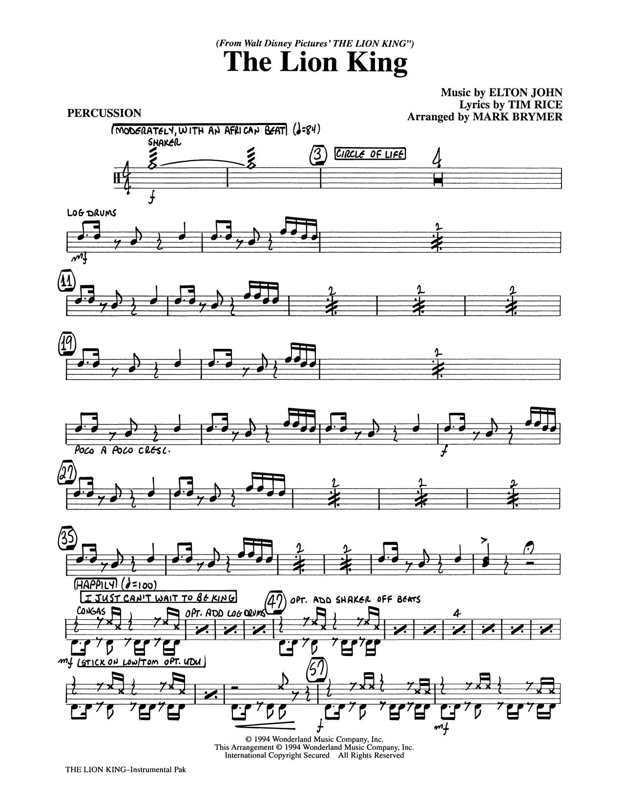 The Lion King (Medley) (arr. Mark Brymer) - Percussion (Choir Instrumental Pak)
