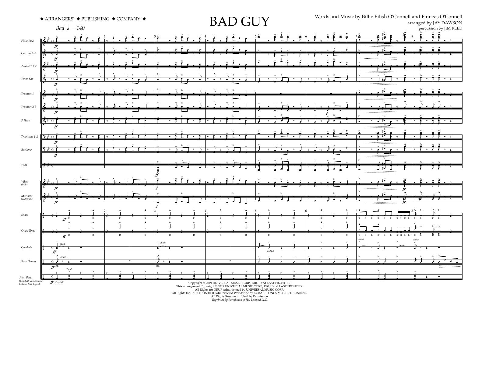 Bad Guy (arr. Jay Dawson) - Conductor (Marching Band)