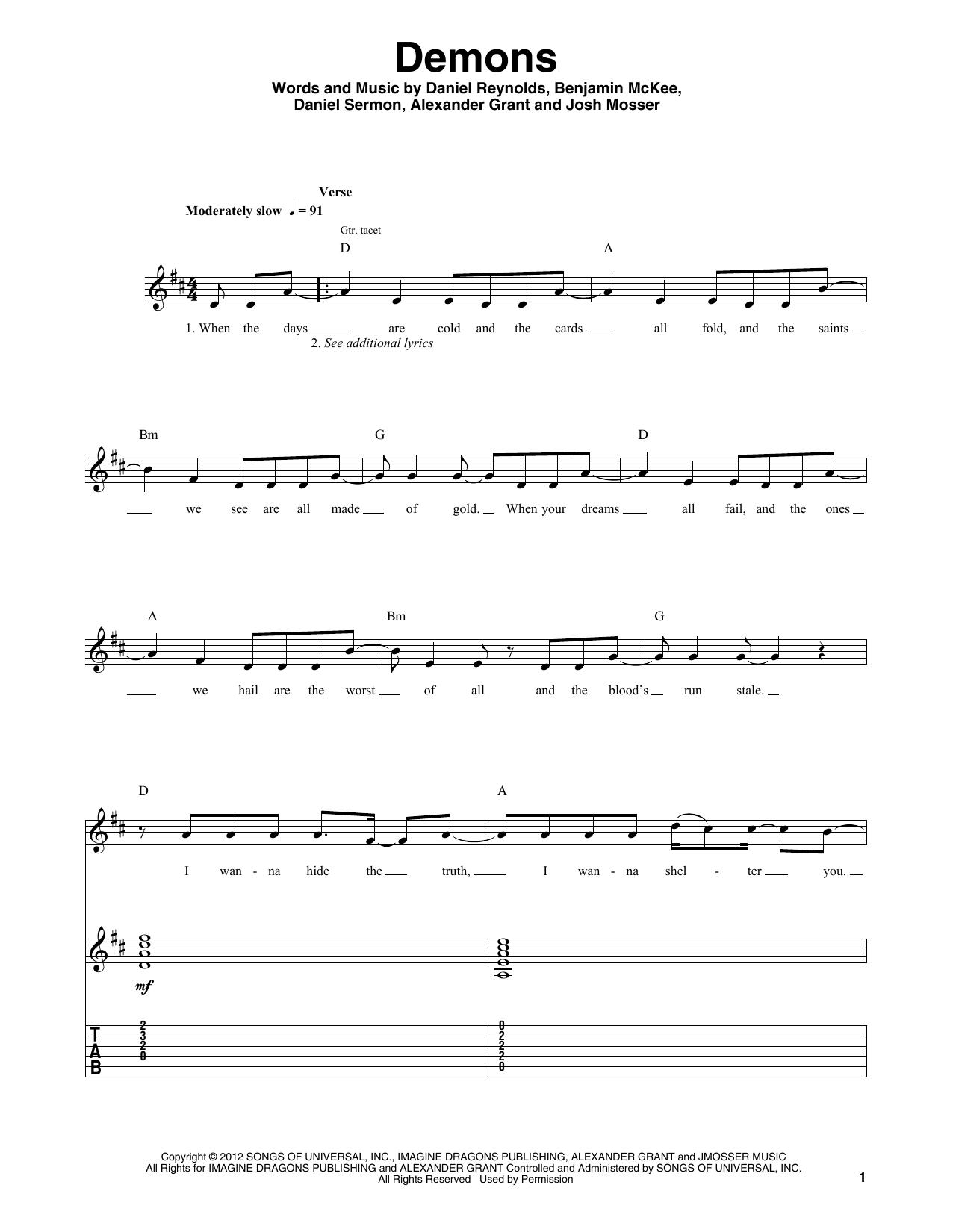 Demons (Guitar Tab (Single Guitar))