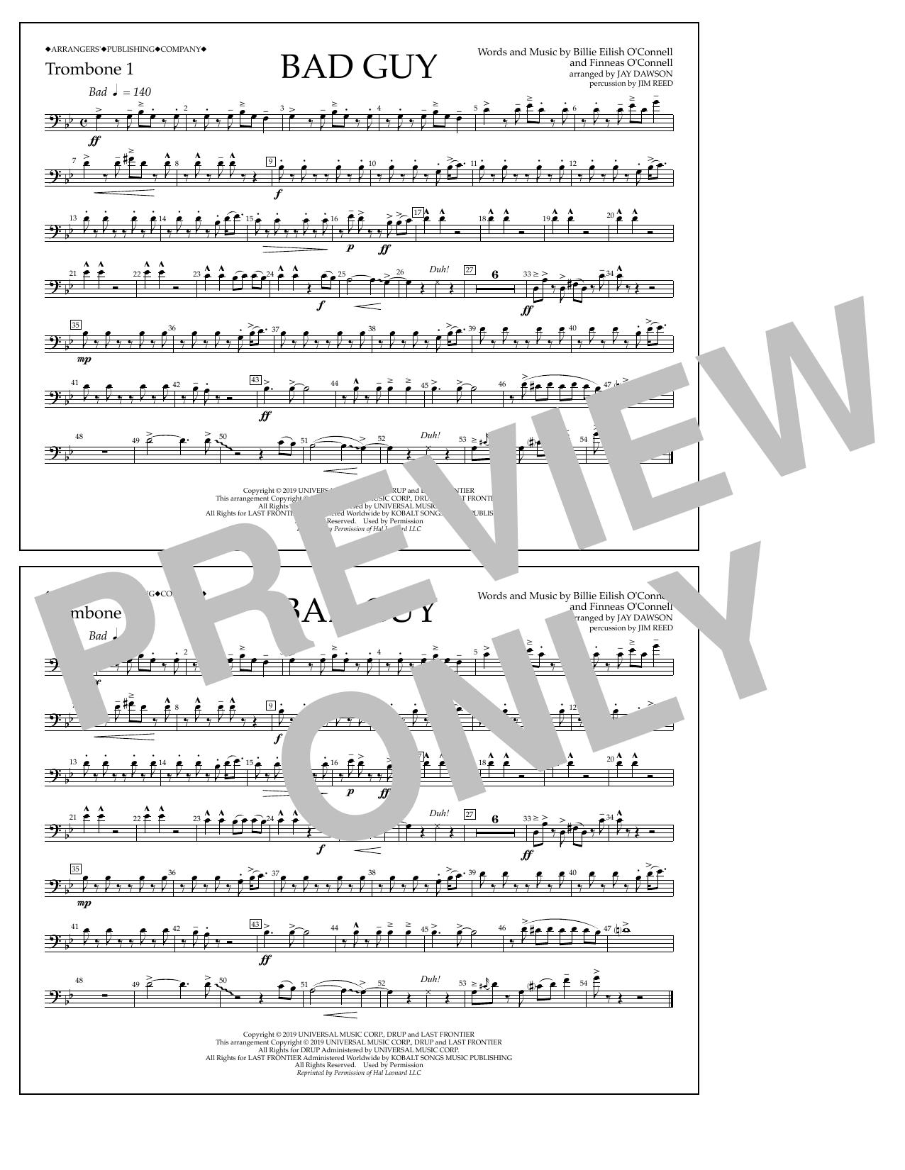 Bad Guy (arr. Jay Dawson) - Trombone 1 (Marching Band)