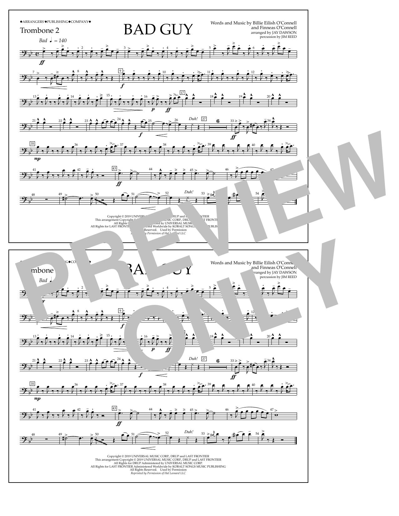 Bad Guy (arr. Jay Dawson) - Trombone 2 (Marching Band)