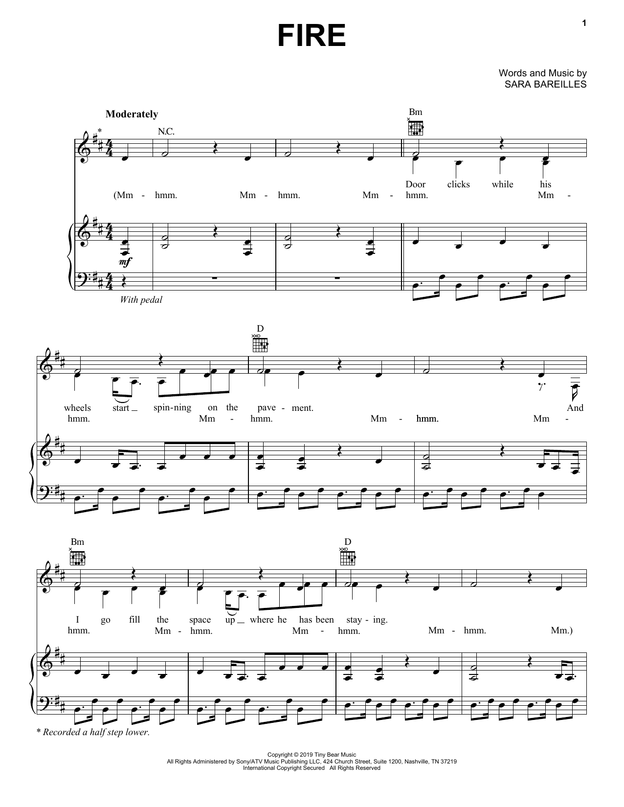 Fire (Piano, Vocal & Guitar (Right-Hand Melody))