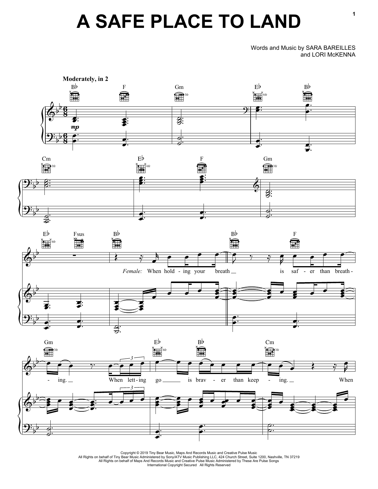 A Safe Place To Land (feat. John Legend) (Piano, Vocal & Guitar (Right-Hand Melody))
