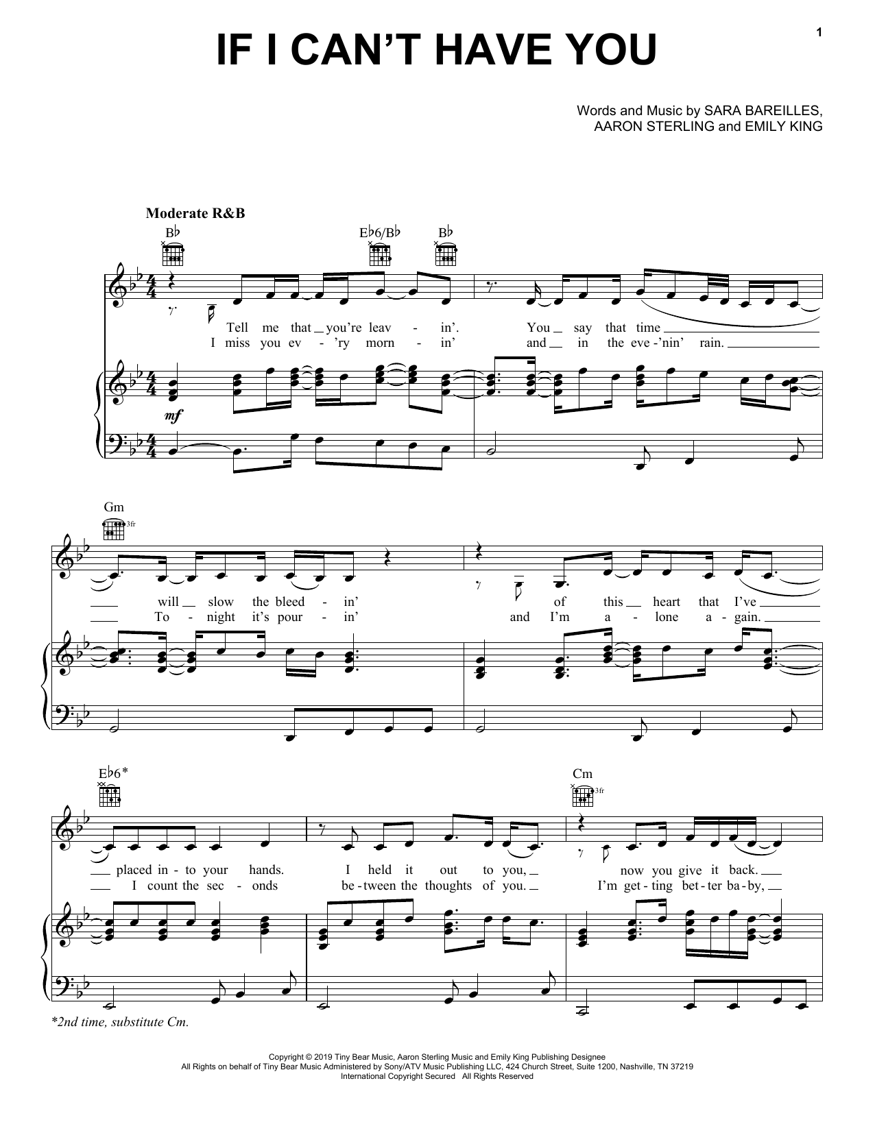 If I Can't Have You (Piano, Vocal & Guitar (Right-Hand Melody))