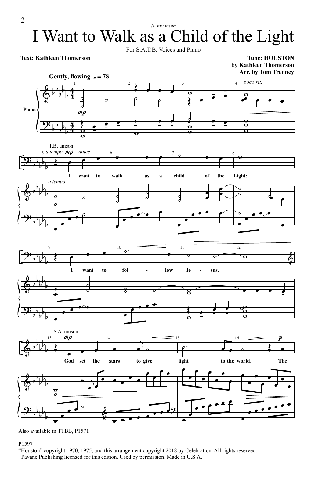 I Want To Walk As A Child Of The Light (arr. Tom Trenney) Sheet Music