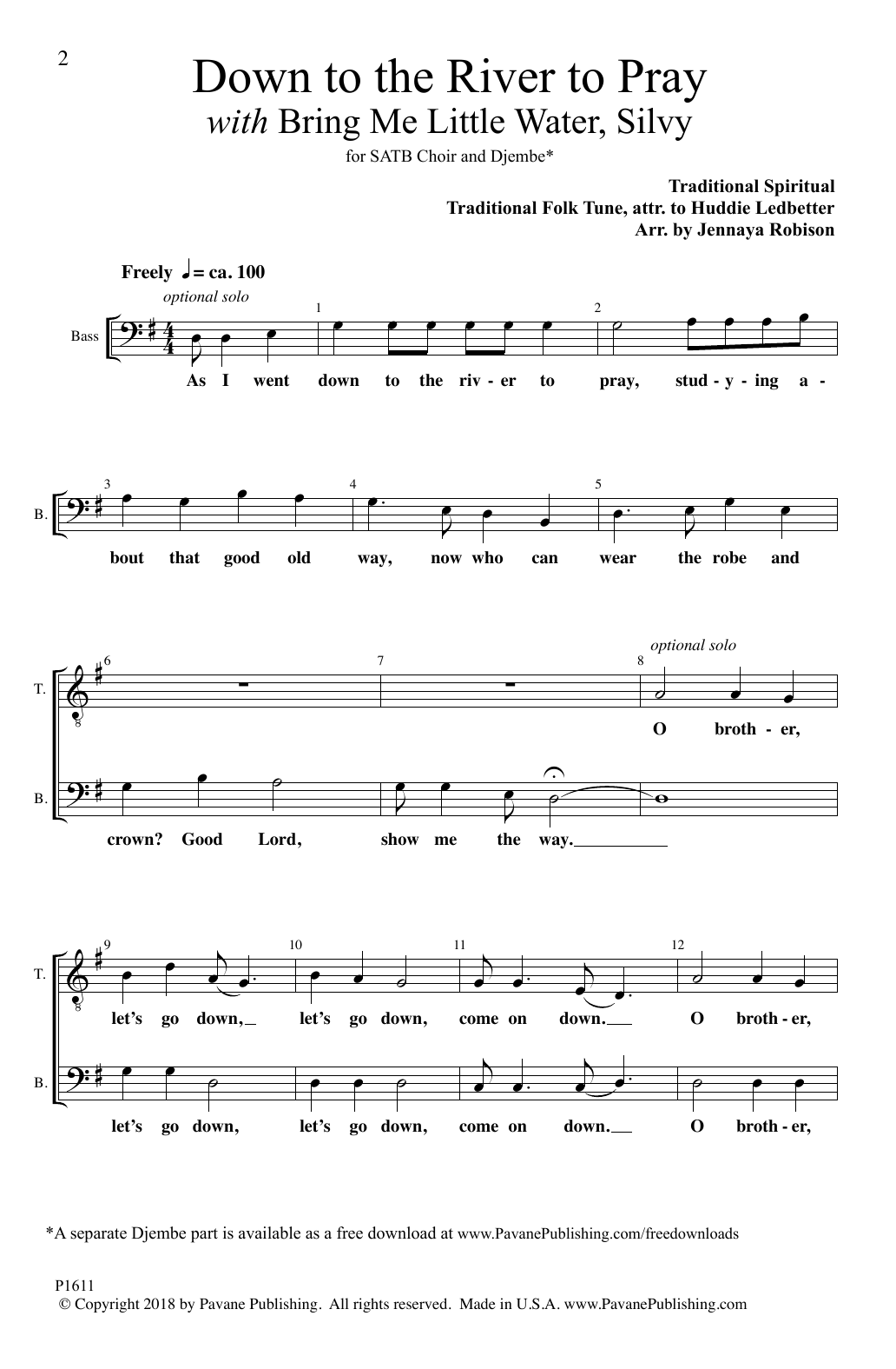 Down To The River To Pray (with Bring Me Little Water, Silvy) (arr. Jennaya Robison) Sheet Music