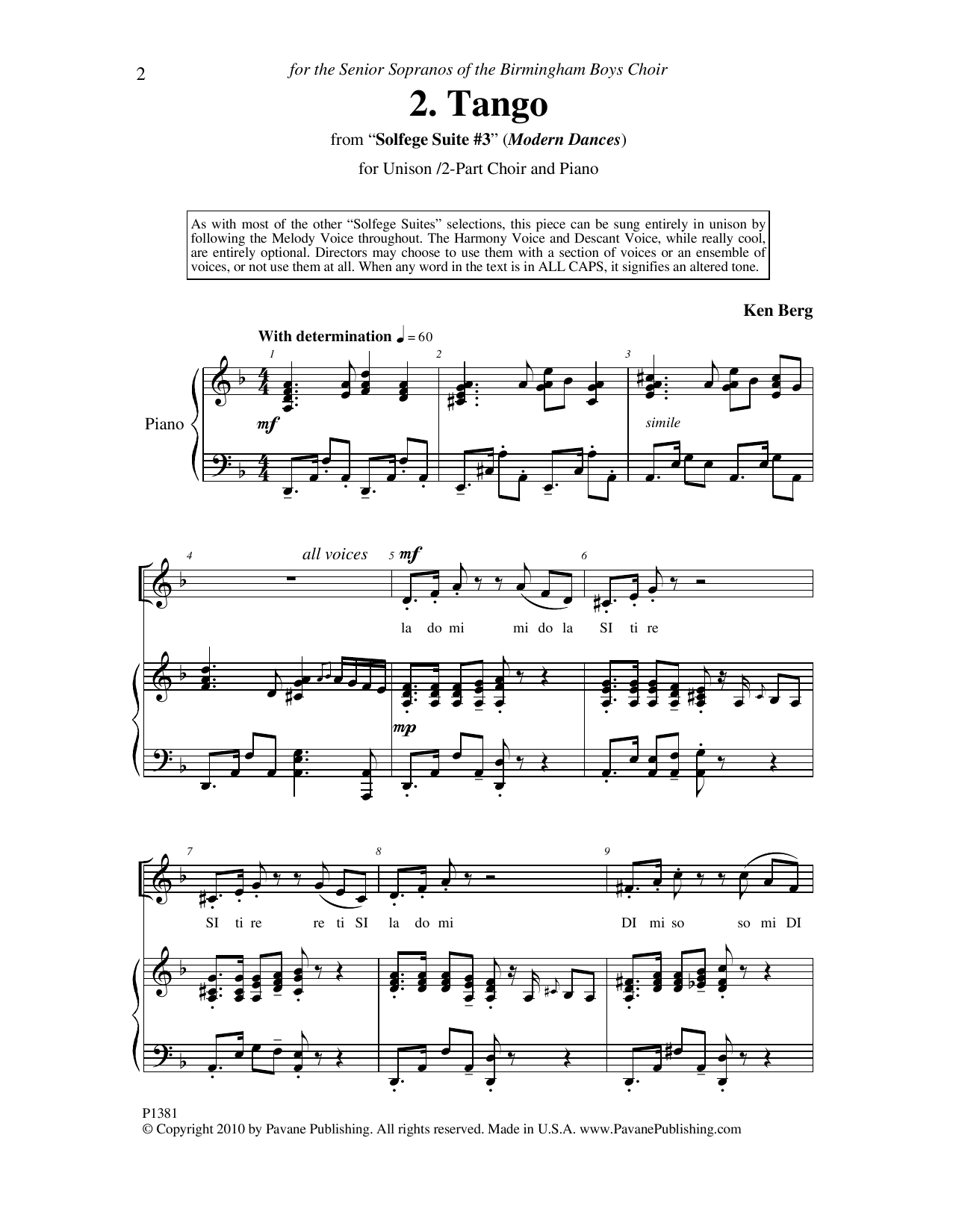 """Tango (from """"Solfege Suite #3"""") Sheet Music"""