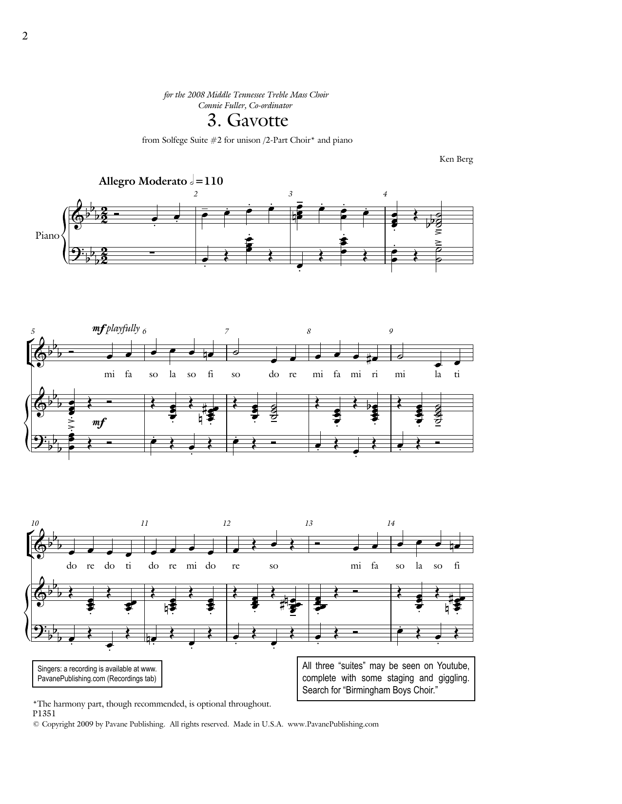 """Gavotte (from """"Solfege Suite #2"""") Sheet Music"""