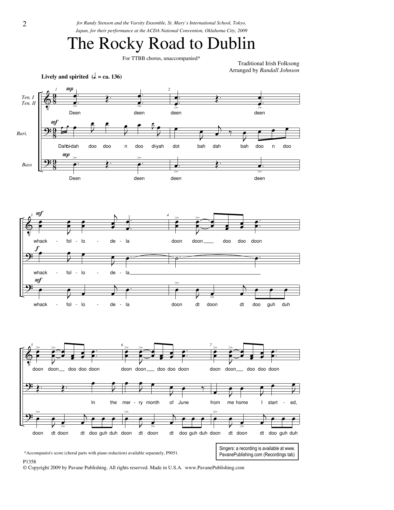 The Rocky Road To Dublin Sheet Music