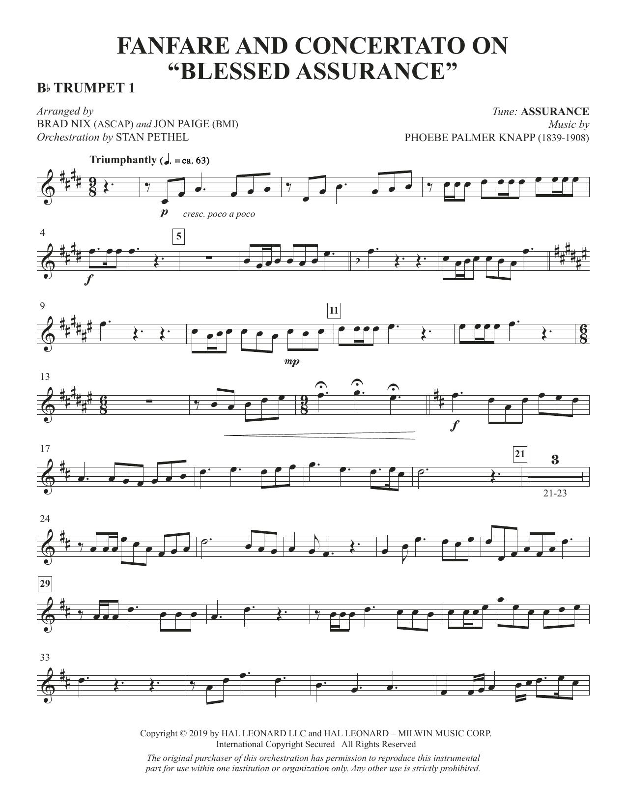 "Fanfare and Concertato on ""Blessed Assurance"" (arr. Brad Nix & Jon Paige) - Bb Trumpet 1 Partituras Digitales"