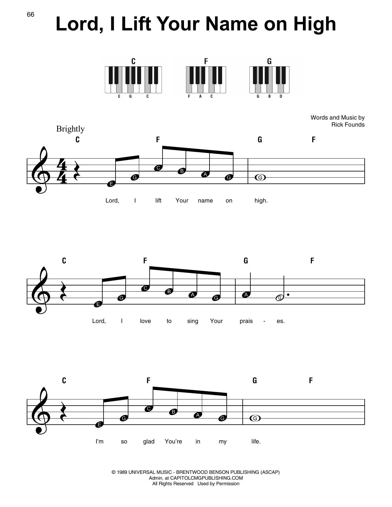 Lord, I Lift Your Name On High (Super Easy Piano)