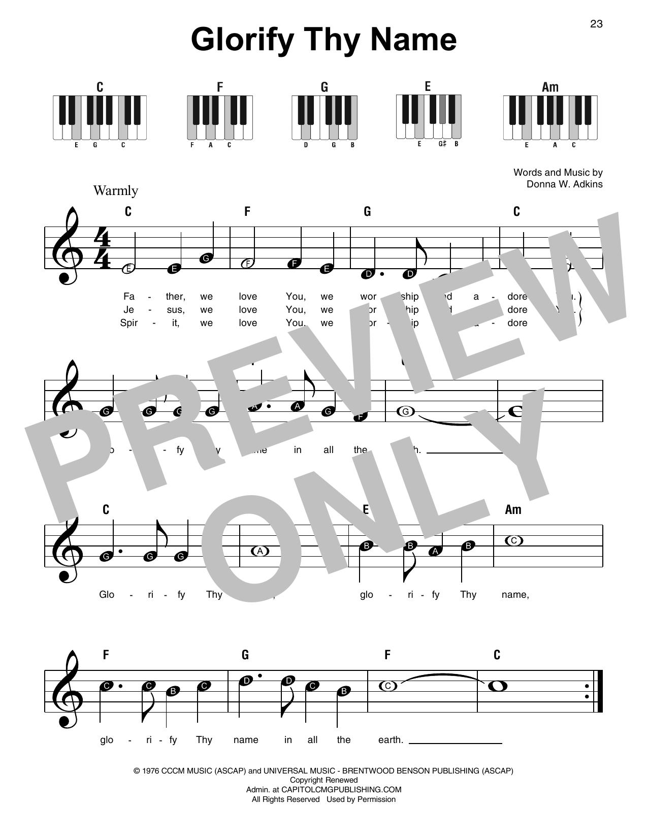 Glorify Thy Name (Super Easy Piano)